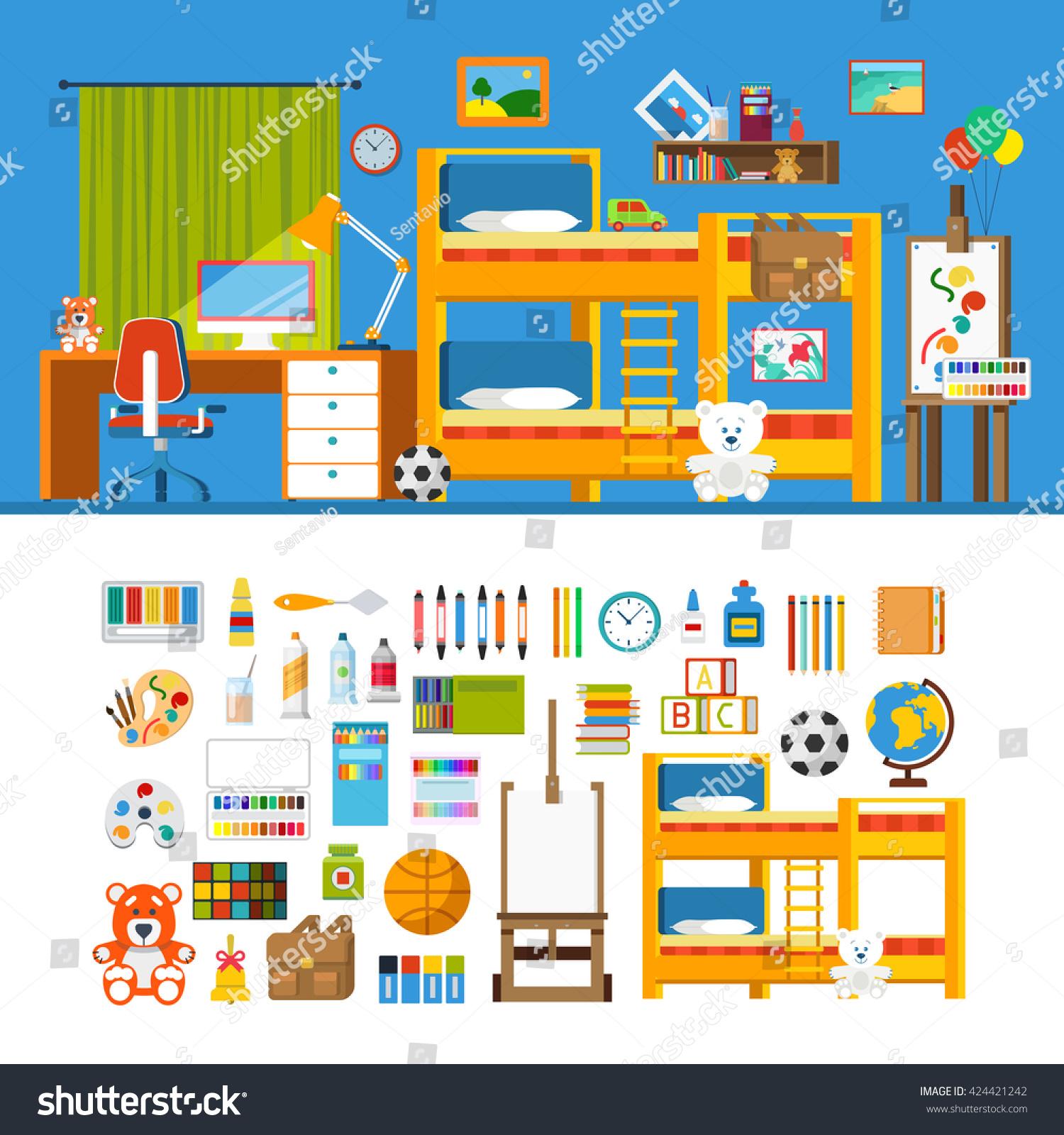 Creative Furniture Icons Set Flat Design Children Room Interior