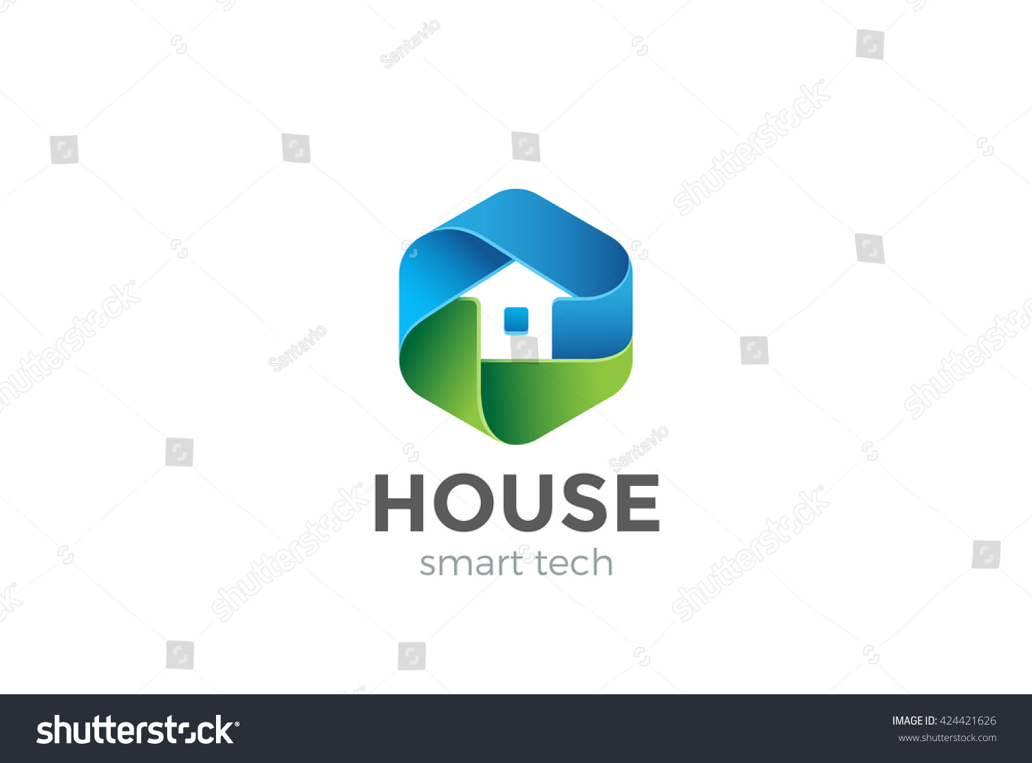 Eco House Logo Abstract Design Vector Template In Hexagon Shape. Home  Services Household Ecology Green Part 71