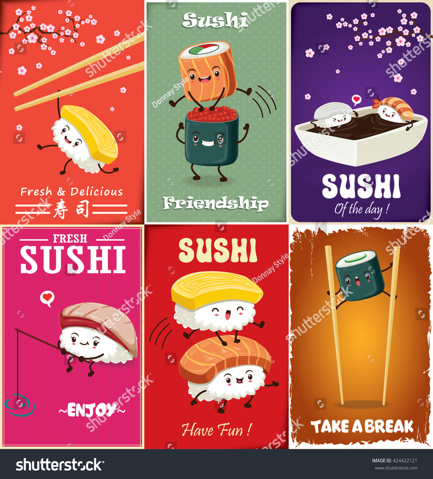 Poster design word - Vintage Sushi Poster Design With Vector Sushi Character Chinese Word Means Sushi