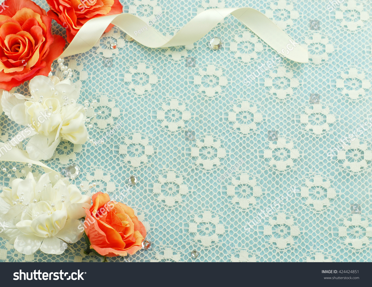 Silk Flowers Satin Ribbon Lace Make Stock Photo Edit Now 424424851