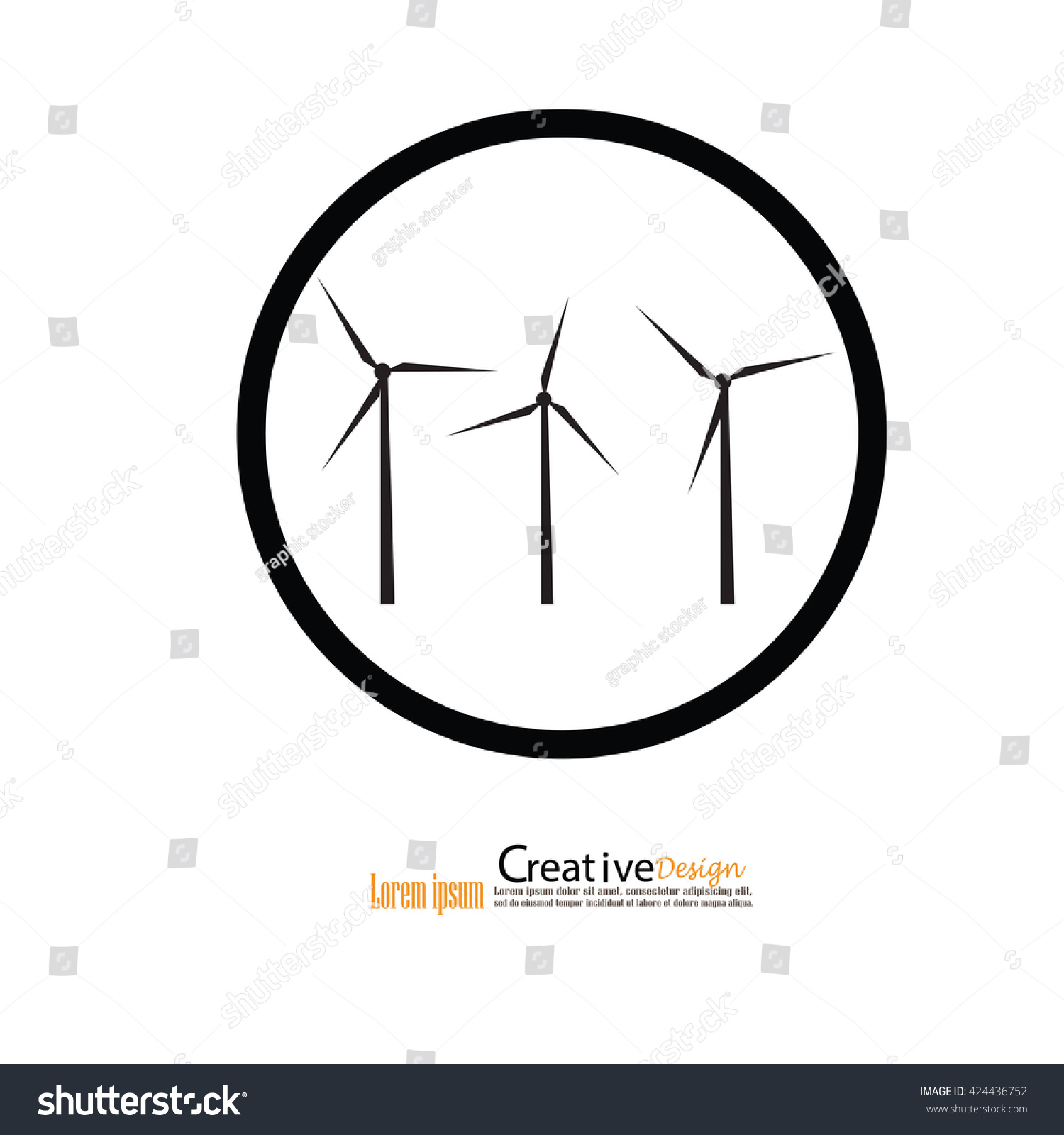 Windturbinewindturbine Iconwindmills Electric Power Production Stock ...