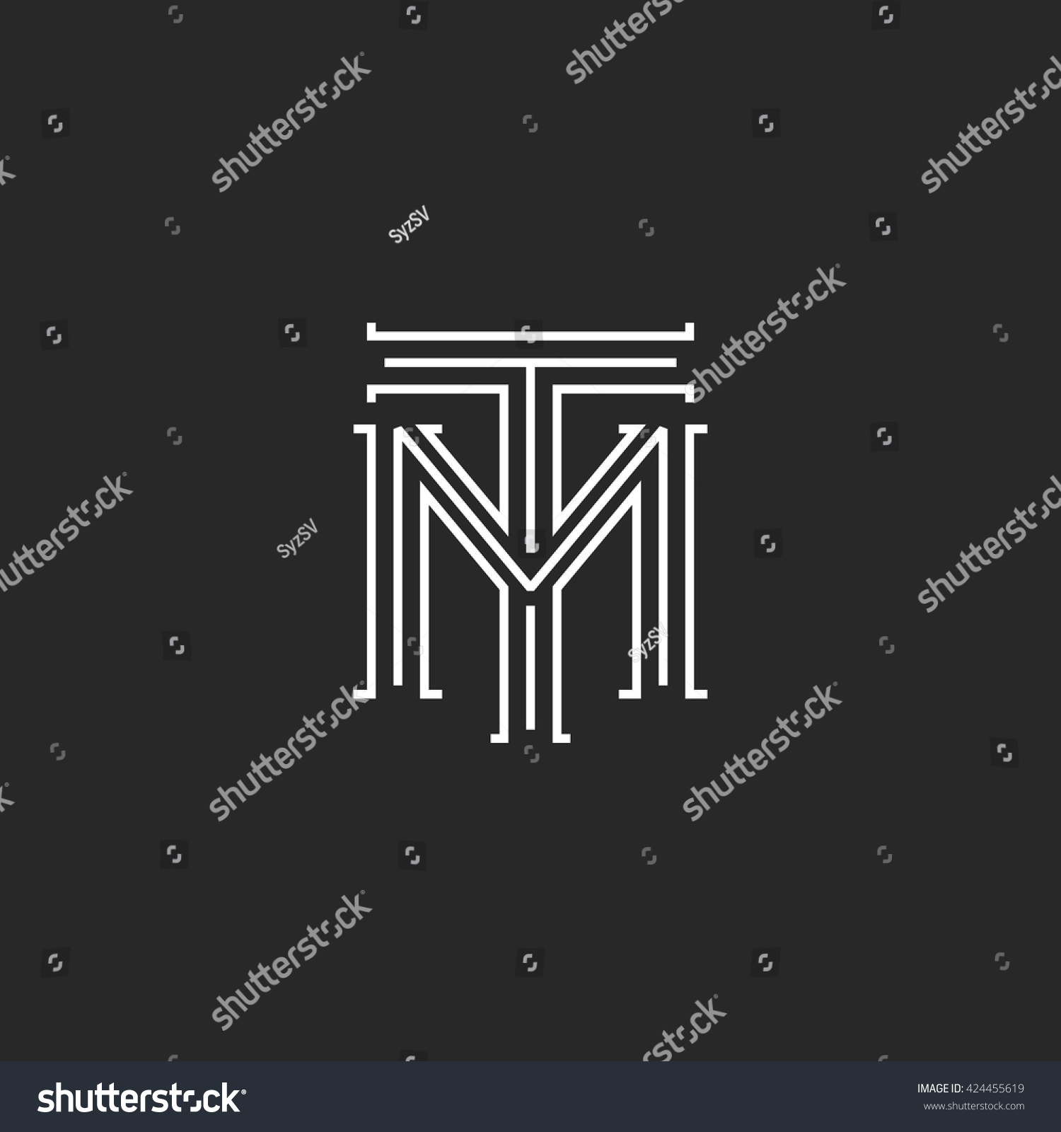 Monogram hipster initials tm logo letters stock vector 424455619 monogram hipster initials tm logo letters overlapping connection couple merger t m letters thin lines buycottarizona