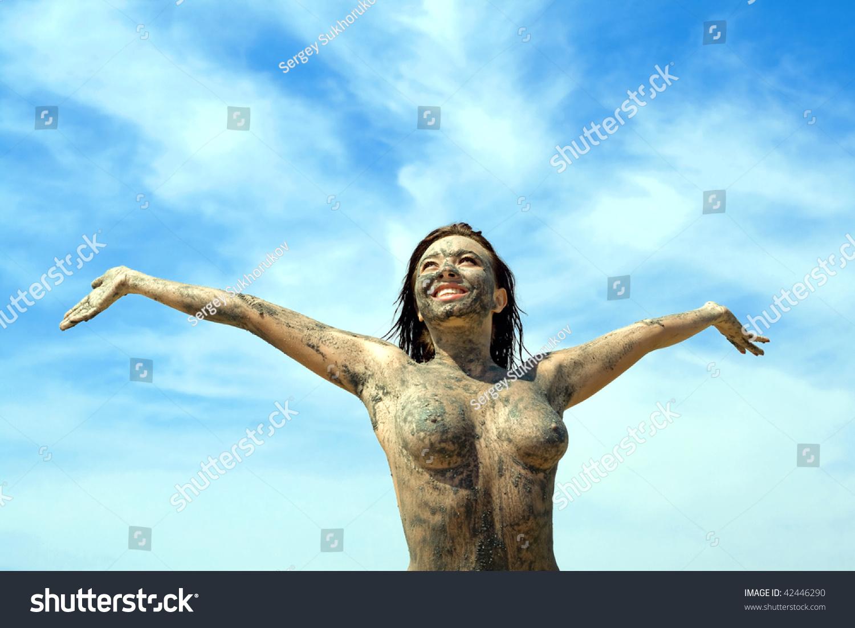 Nude women taking bath