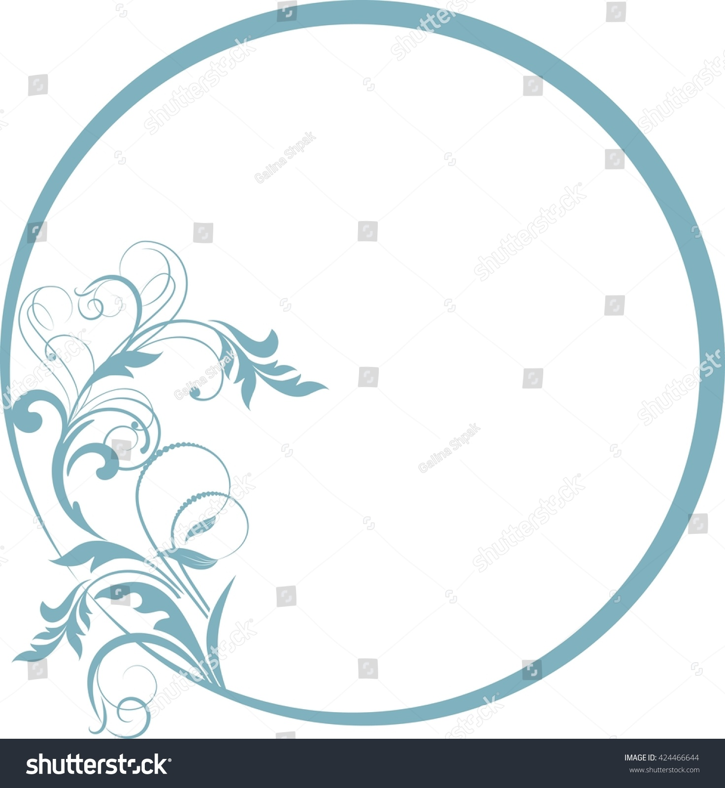 Round frame with decorative branch vector illustration stock - Round Frame With Decorative Branch Vector Illustration