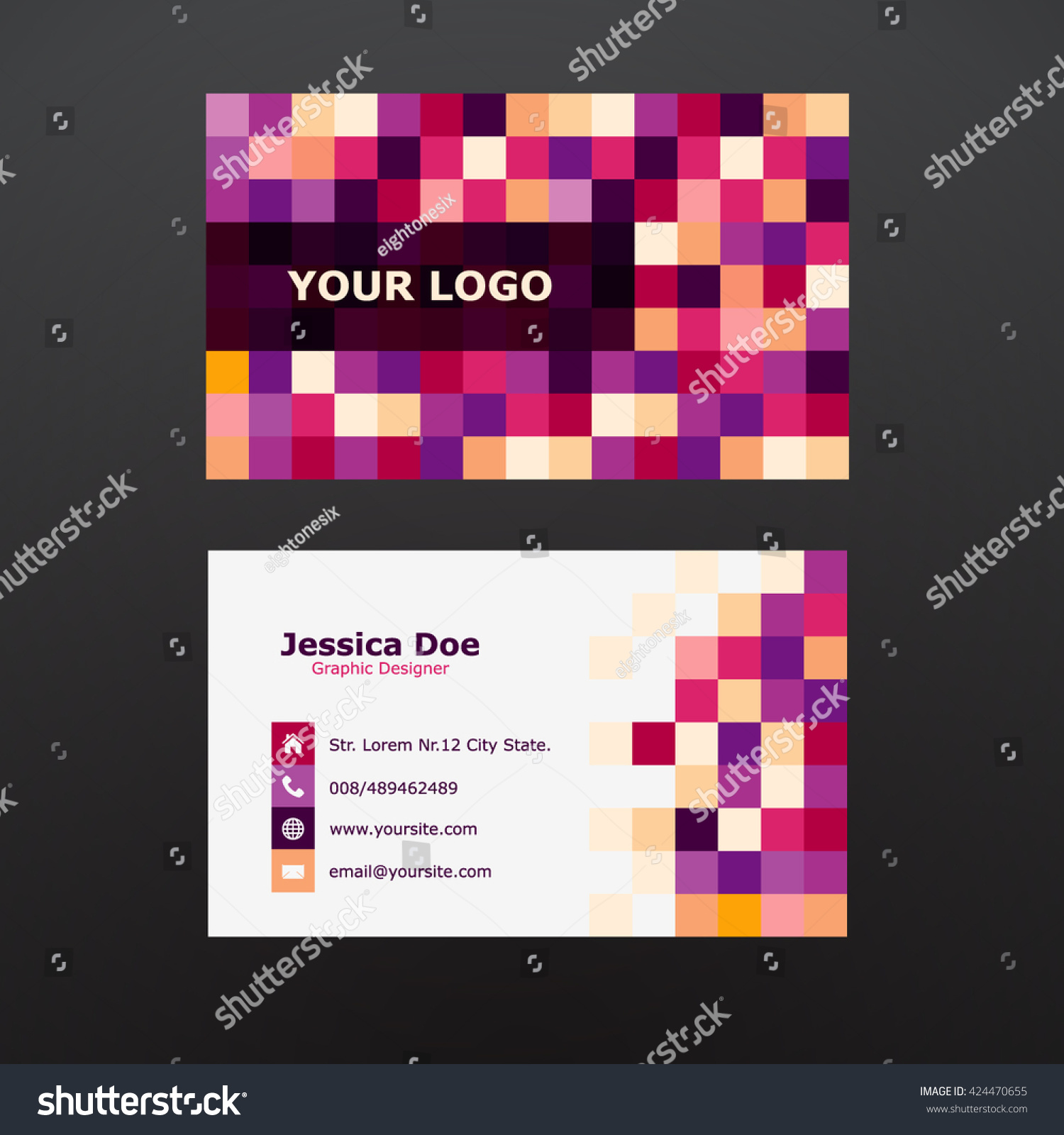 Pixel Business Card Template Stock Vector 424470655 - Shutterstock