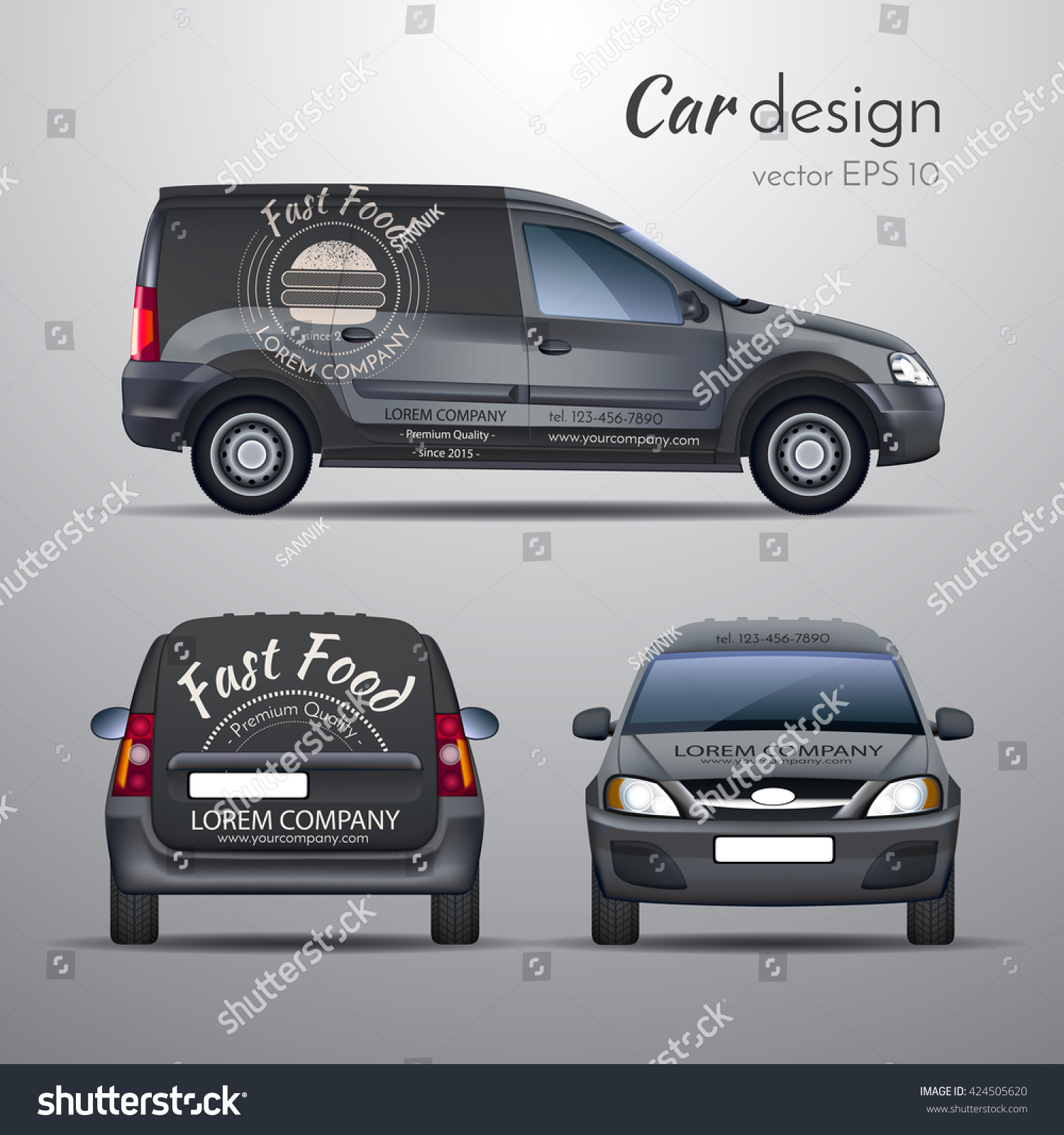 Car sticker design vector free - Realistic Vector Illustration Of A Template Design Car Stickers On The Car Food Delivery