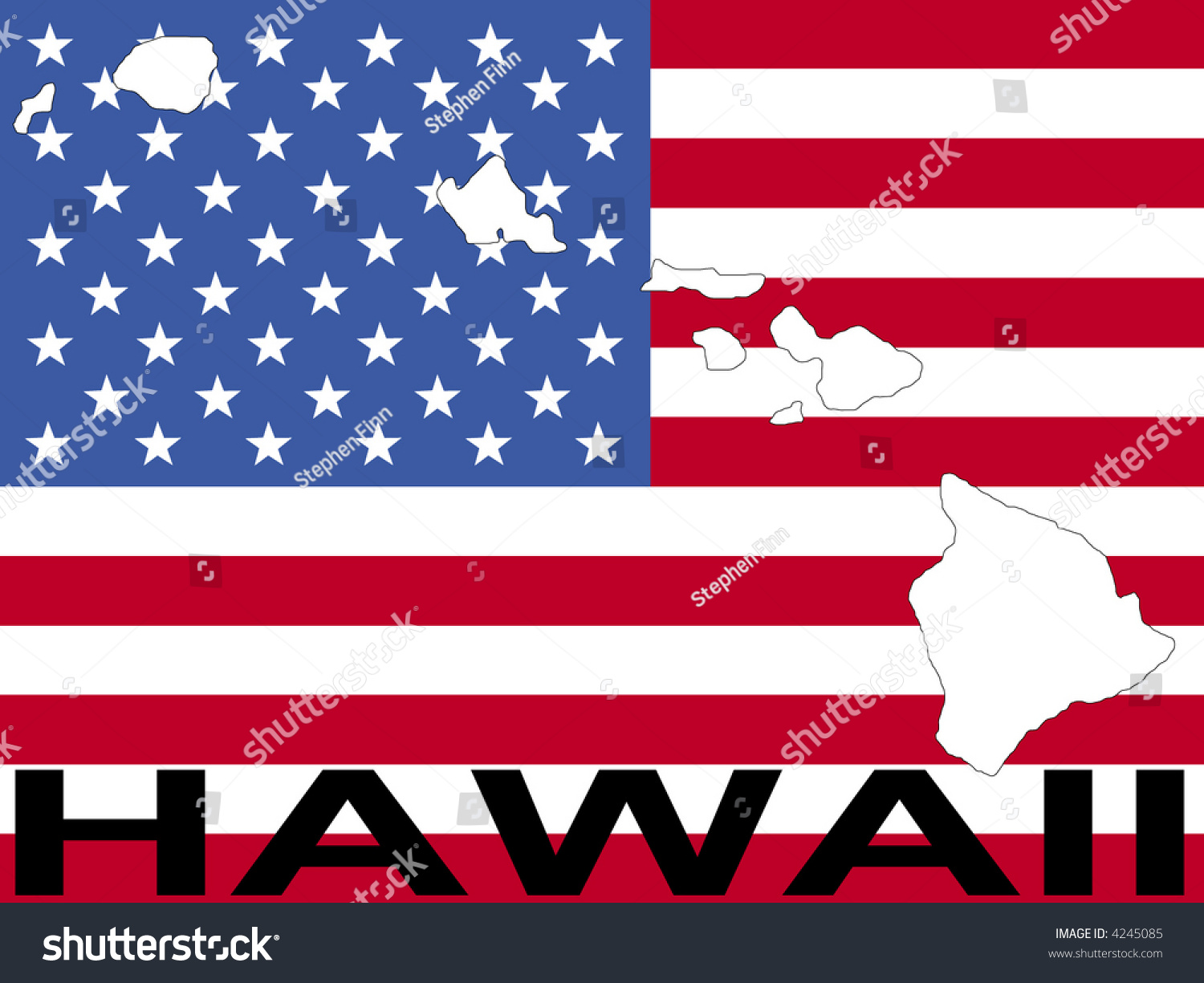 Map Hawaii On American Flag Illustration Stock Vector - Hawaii map usa states
