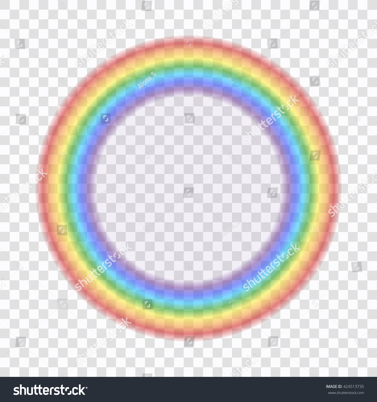 Rainbow Icon Shape Circle Realistic Isolated On Transparent