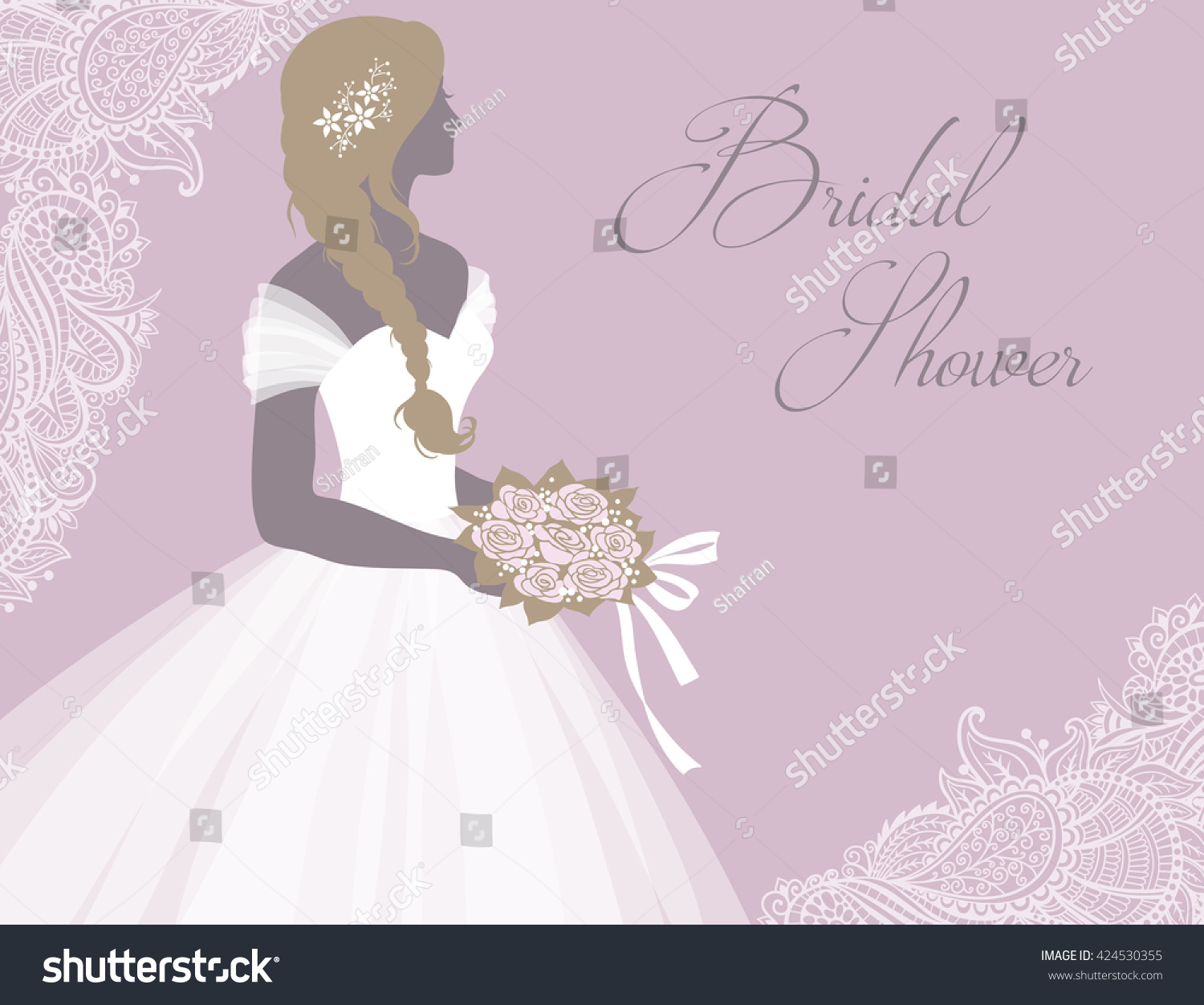 Bride Wedding Dress Holding Bouquet Vector Stock Vector 424530355