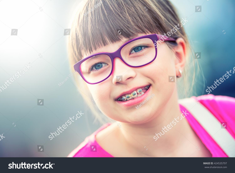 Girl Teen Pre Teen Girl Glasses Stock Photo 424535797 -4806