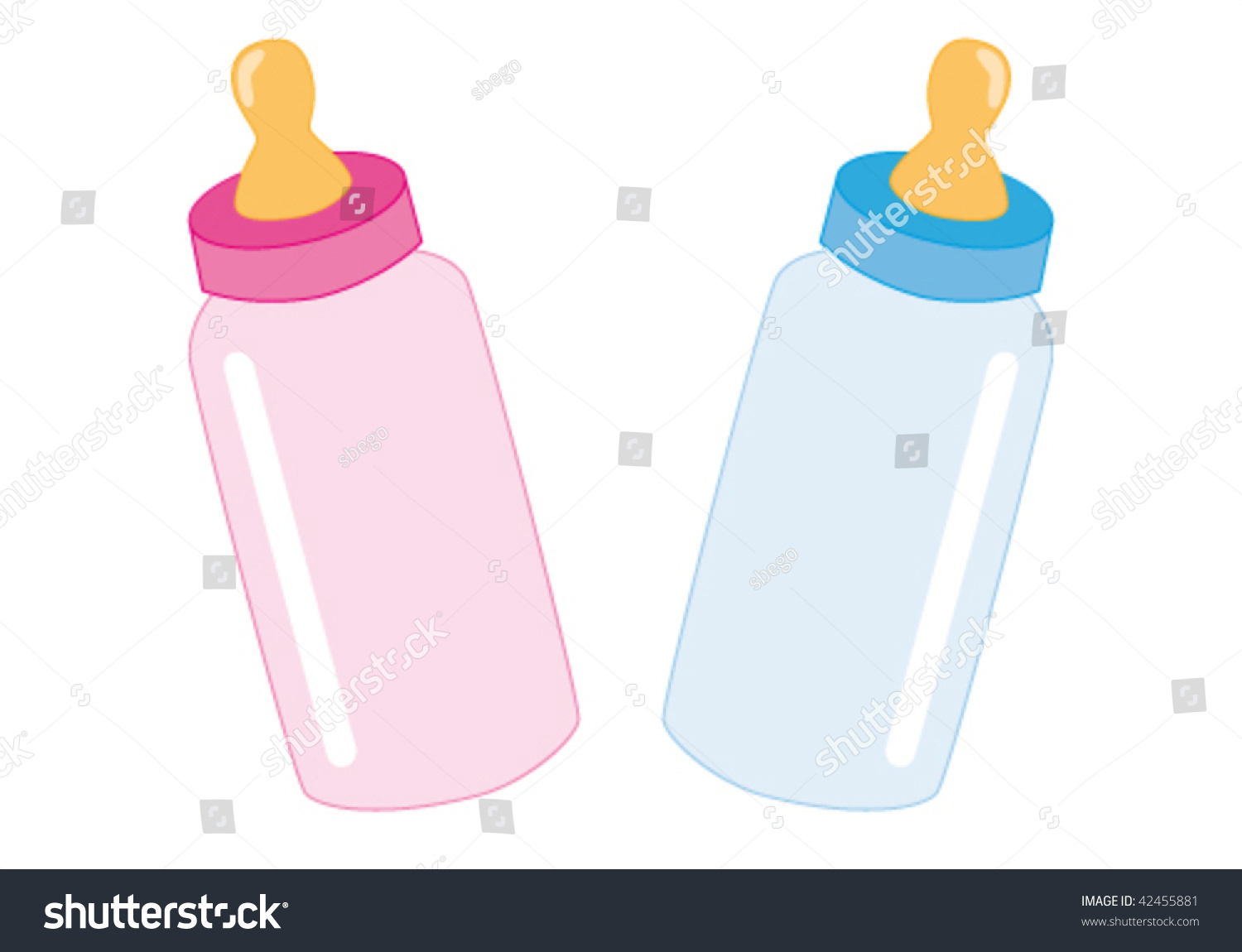 Baby Bottle Blue Pink Stock Vector Royalty Free 42455881