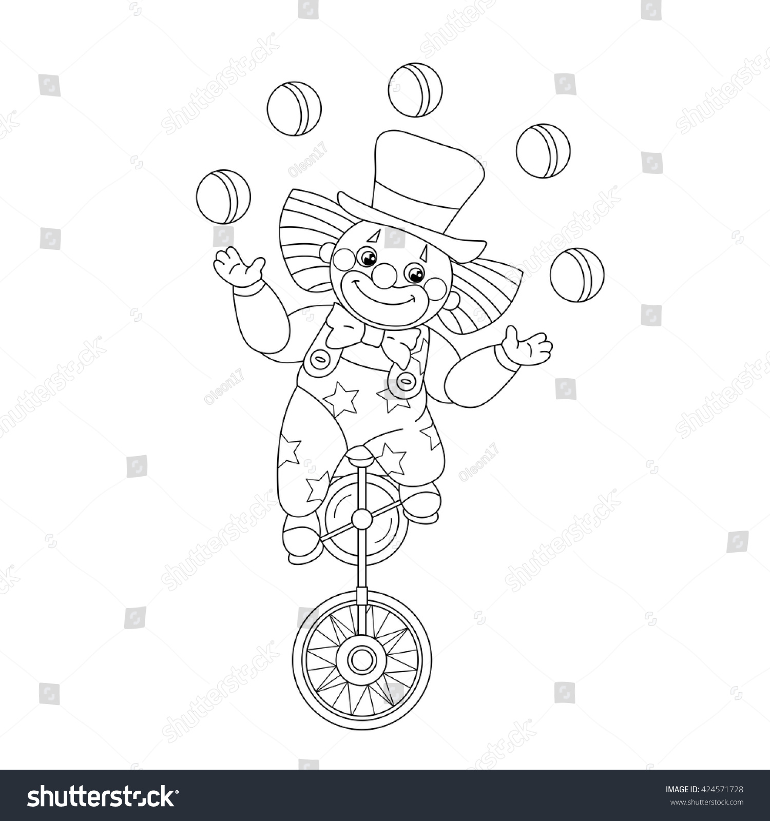 Coloring Page Outline Funny Clown Juggling Stock Vector (Royalty ...