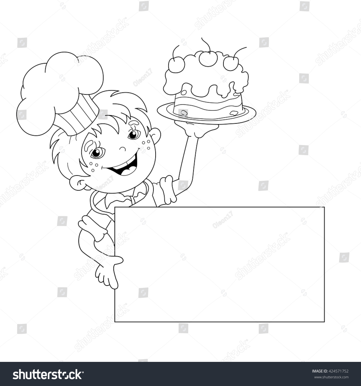 Coloring Page Outline Of Cartoon Boy Chef With Cake Template For Menu Book