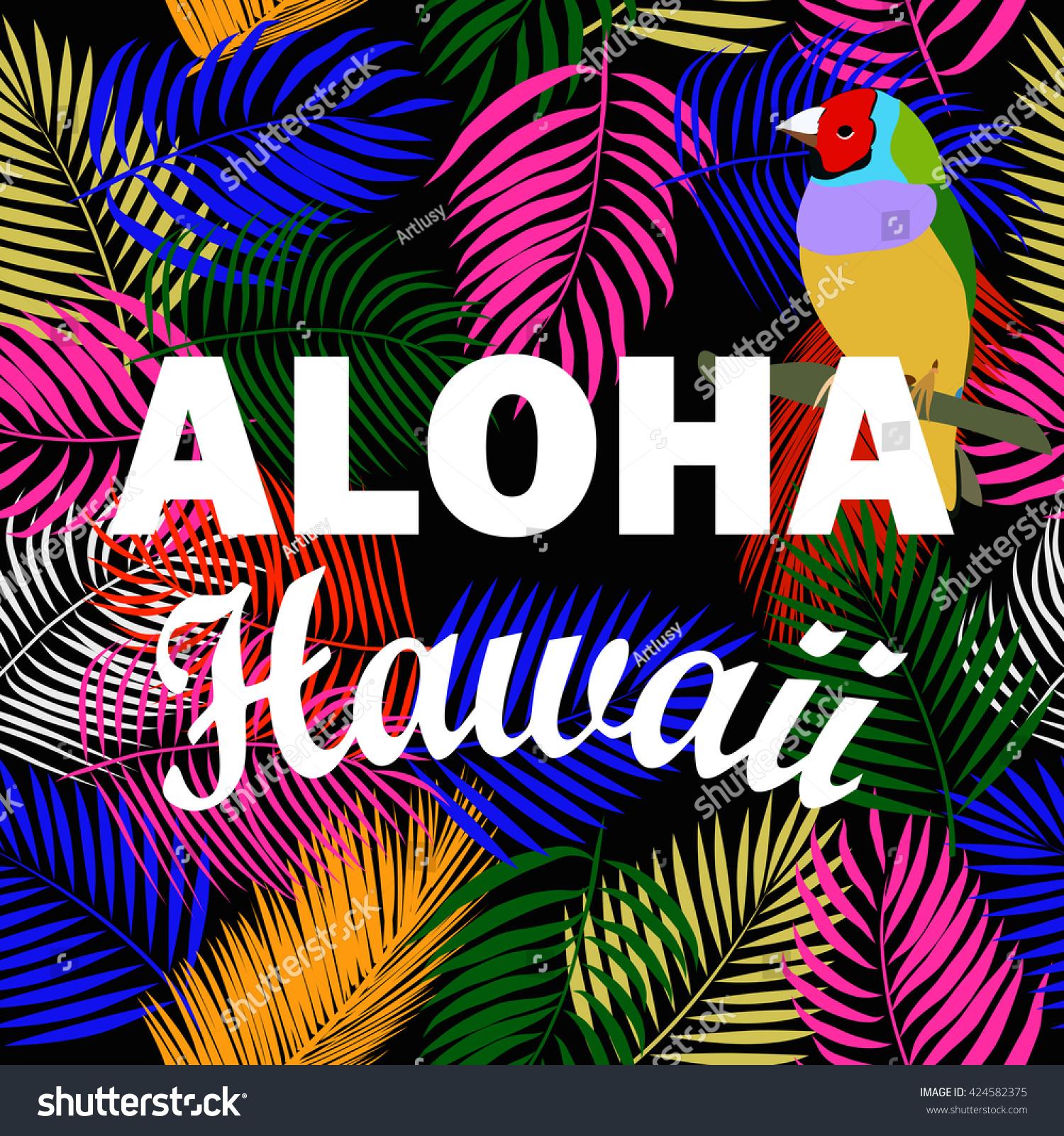 T shirt design hawaii - Aloha Hawaii Leaves Of Palm Tree Tropical Flower Exotic Birds Aloha T