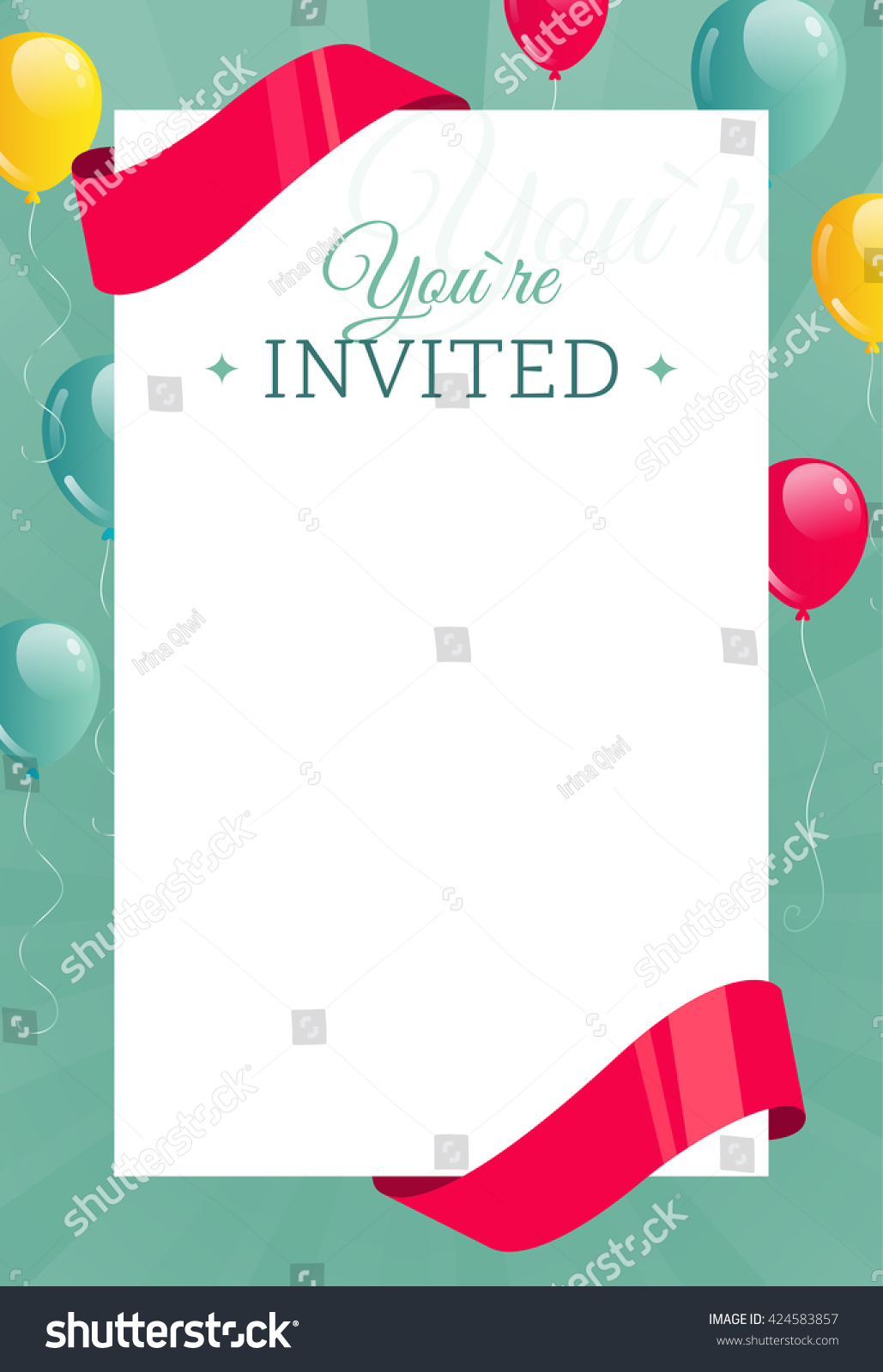 Vector bunting flags lovely celebration card with colorful paper - You Are Invited Invitation Card Banner With Balloons Ribbons And Paper Sheet Vector