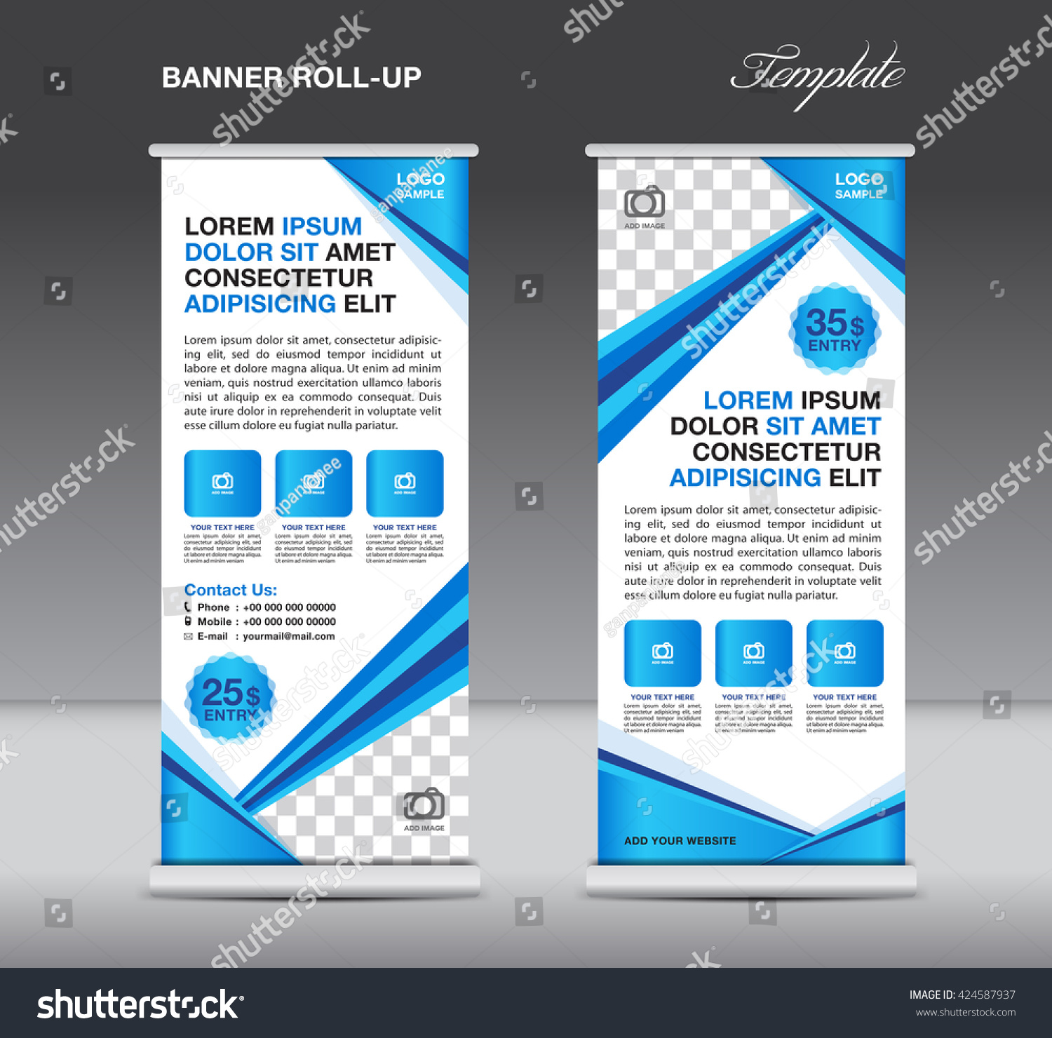 blue roll up banner stand template advertisement flyer template blue roll up banner stand template advertisement flyer template vector illustration display