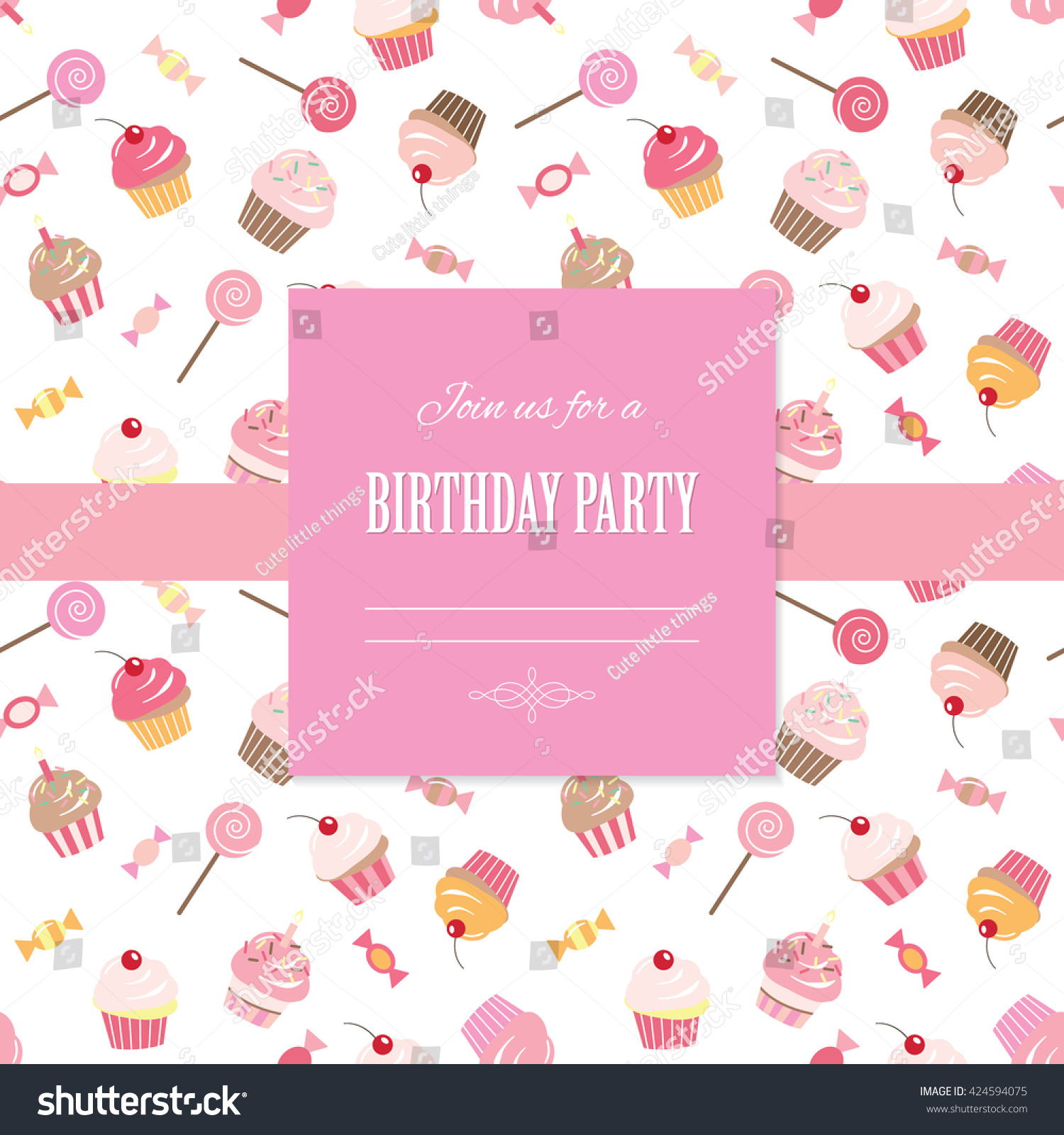 Happy birthday card invitation template seamless stock vector happy birthday card invitation template seamless pattern with cupcakes and sweets included stopboris Choice Image