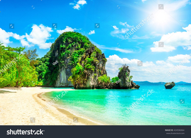 Tropical Island Vacations: Beautiful Tropical Island Thailand Holiday Vacation Stock
