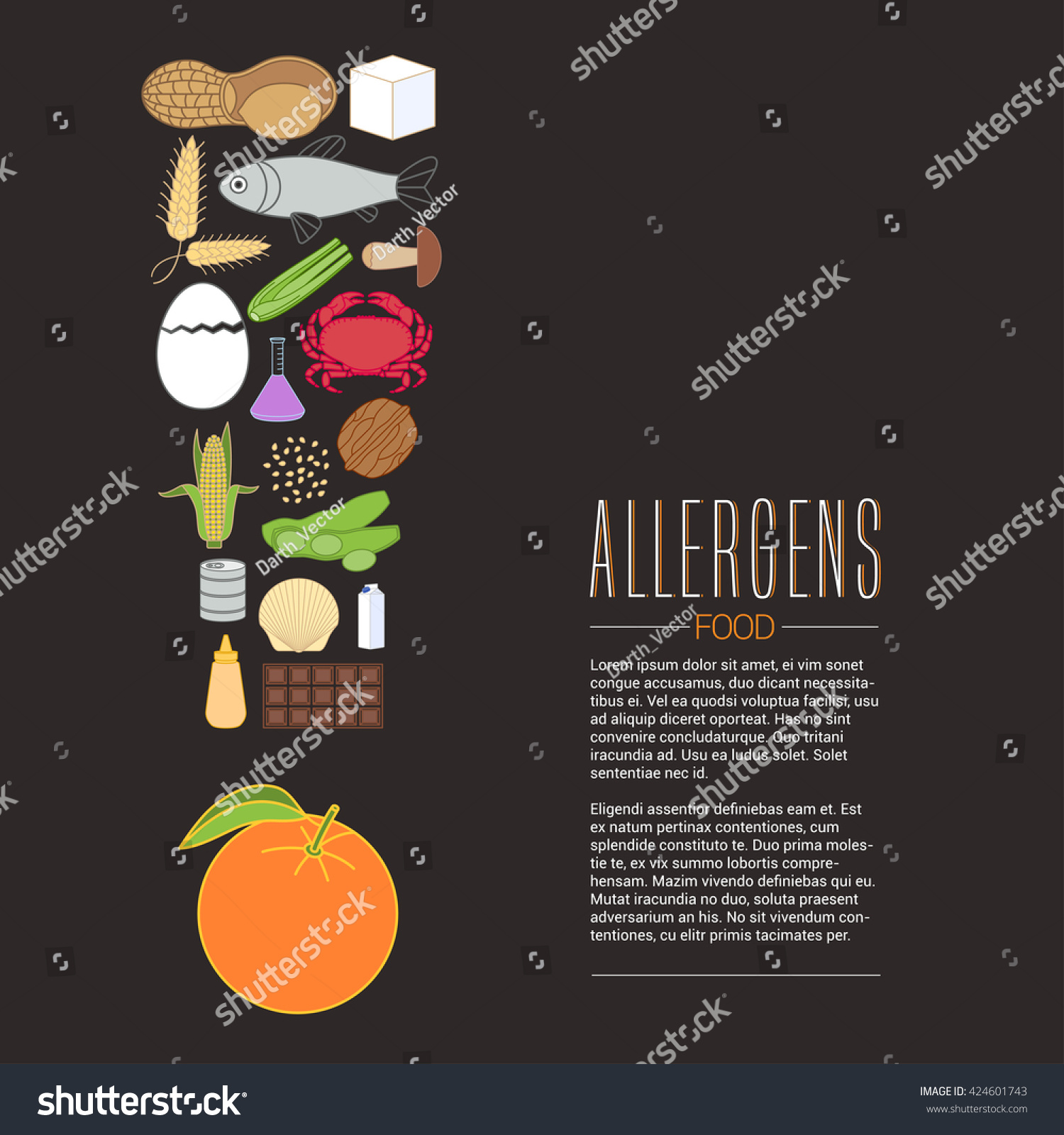 Poster design article - Vector Design Element For Article About Food Allergens Banner For Allergies Poster Design For