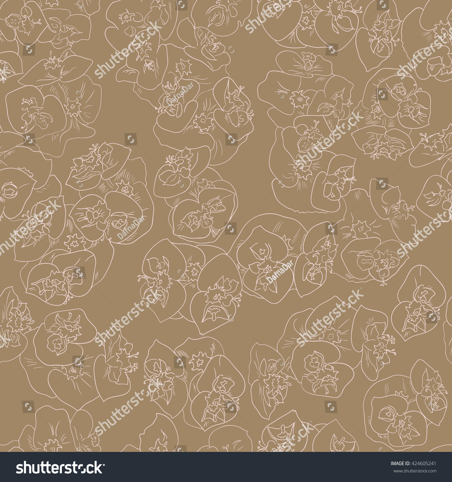Seamless Floral Pattern Background Outline Light Stock
