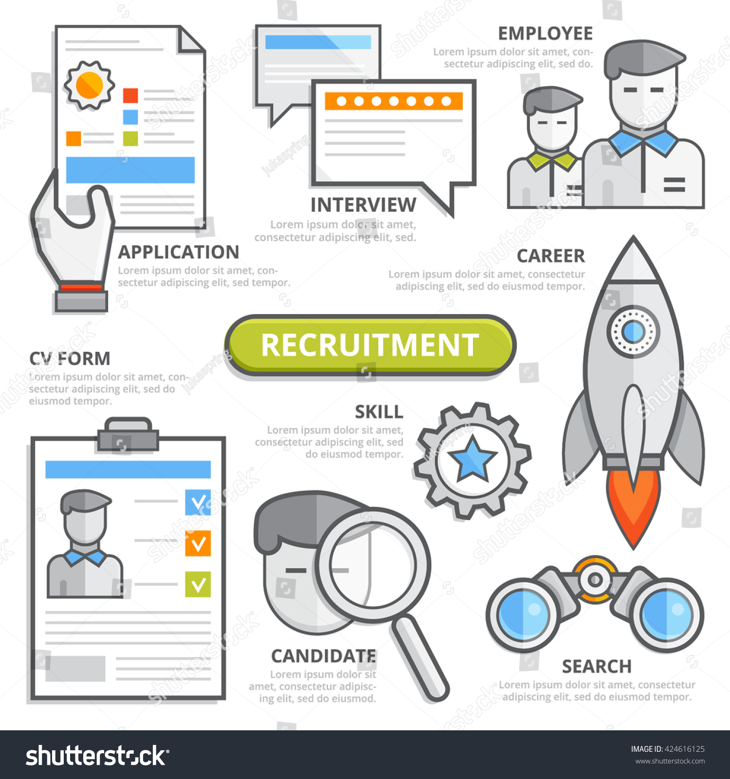 recruitment concept cv form application interview stock vector 424616125
