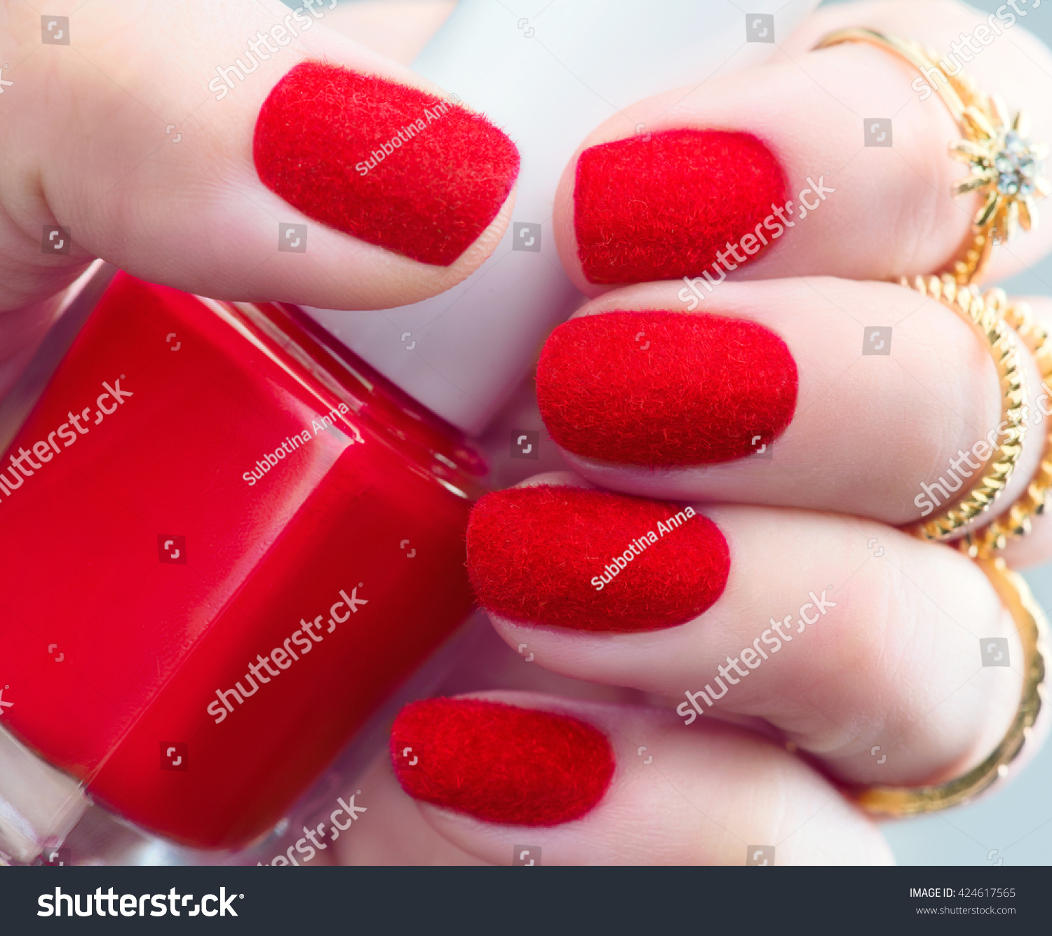 Velvet nails fashion trendy red fluffy stock photo 424617565 velvet nails fashion trendy red fluffy nail art design closeup beauty hands stylish prinsesfo Image collections