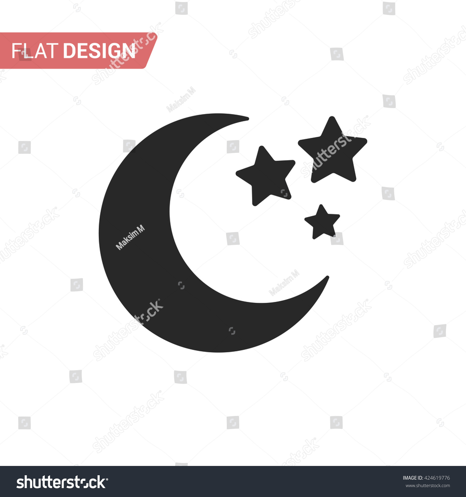 Moon Stars Closeup Moon Symbol Black Stock Vector Royalty Free