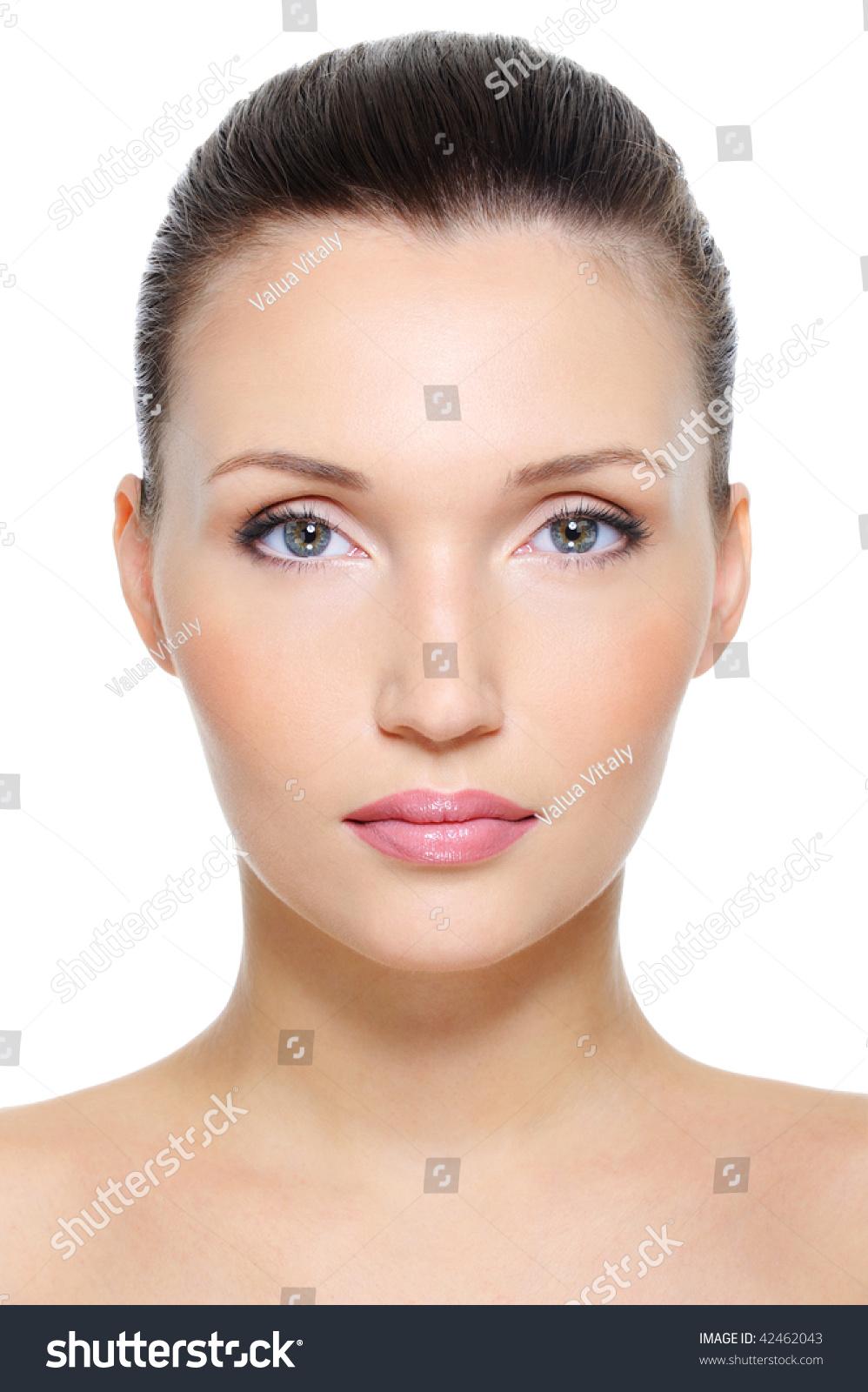 Closeup Portrait Of A: Closeup Front View Portrait Beauty Young Stock Photo