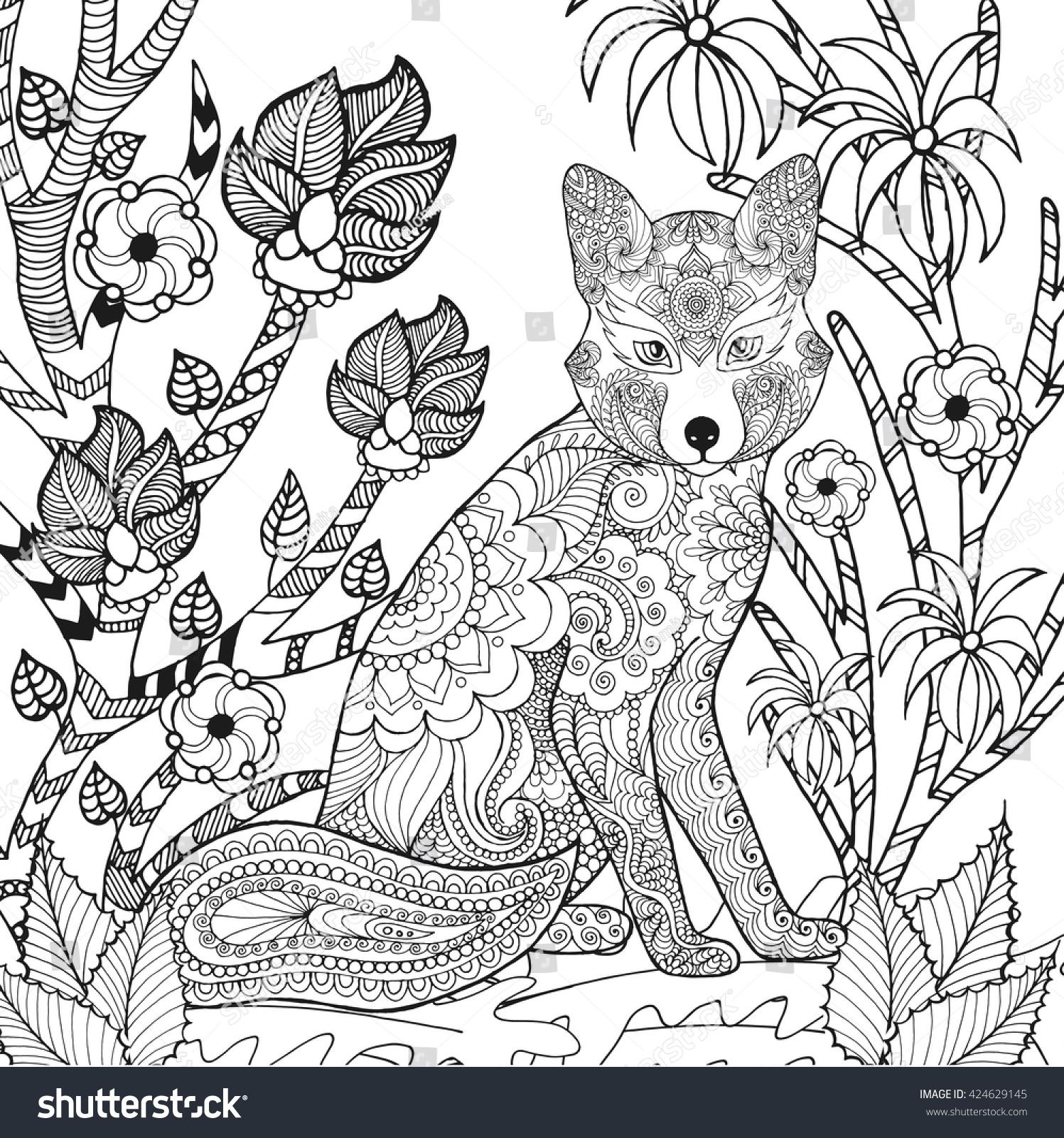 zentangle stylized fox fantasy garden animals stock vector