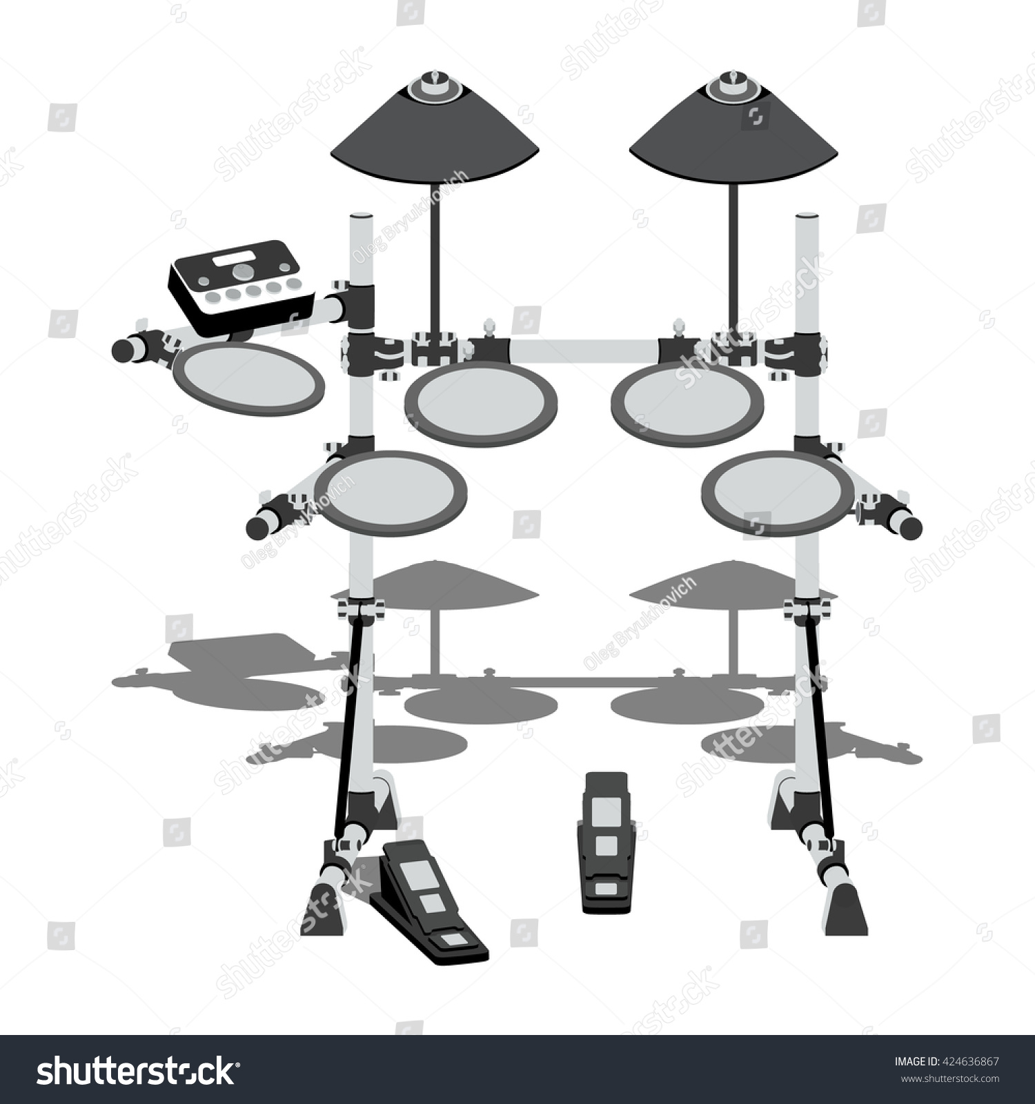 Illustration Electric Drum Kit Controller Pedals Stock Vector