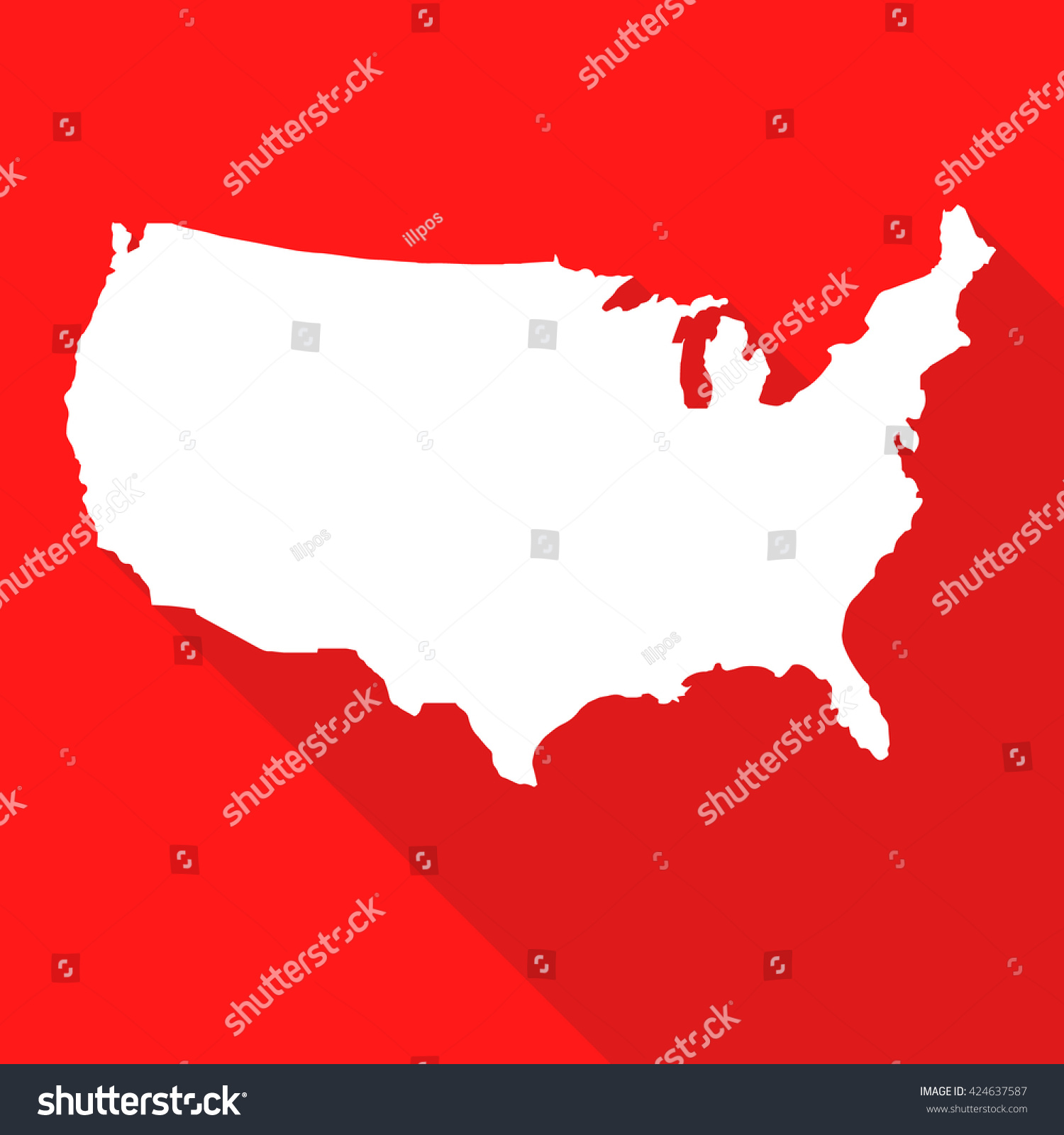 United States Americausa White Mapborder Flat Stock Vector - Us map all white red background