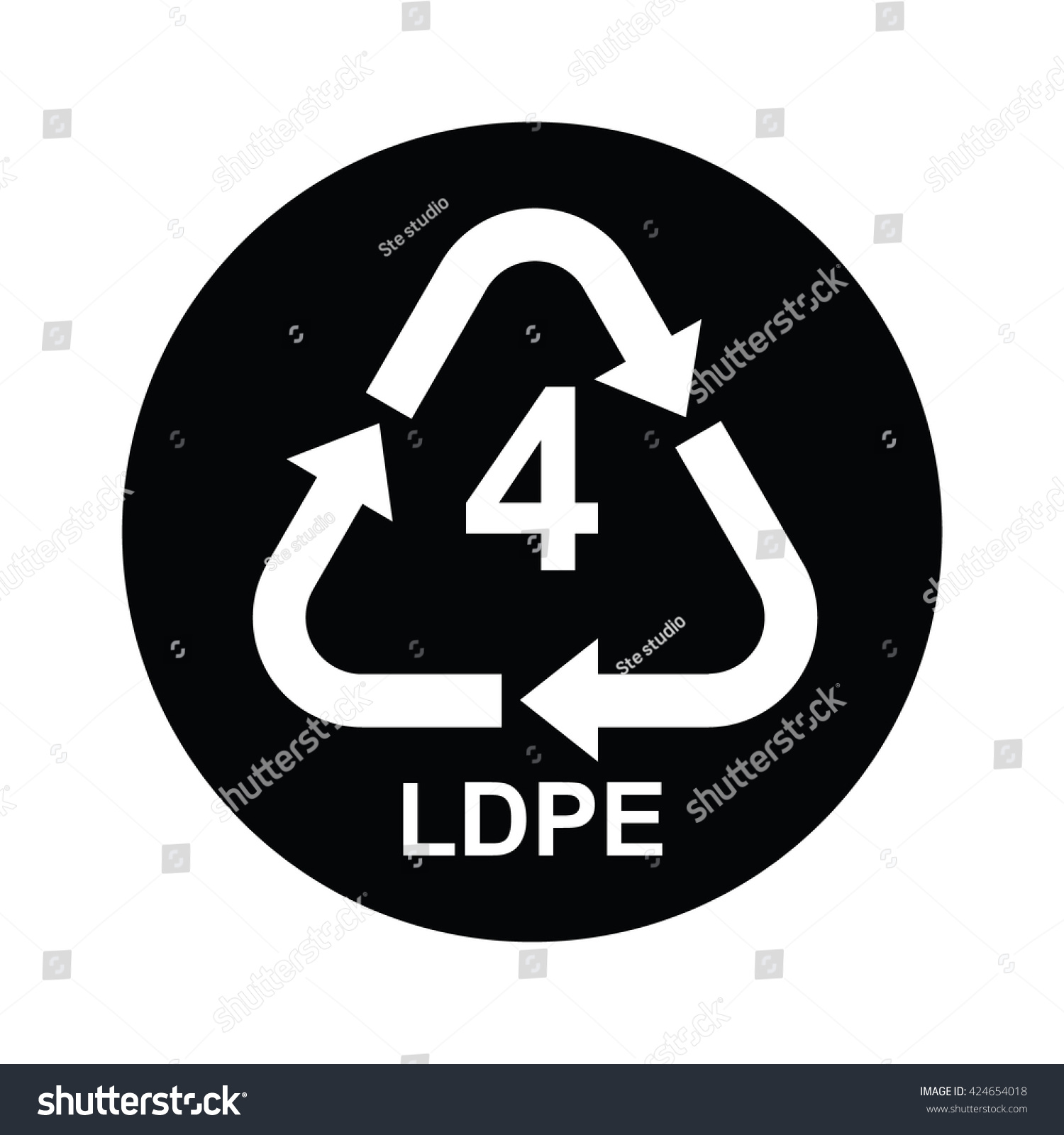 Plastic recycling symbol ldpe 4 black stock vector 424654018 plastic recycling symbol ldpe 4 in black circle vector illustration biocorpaavc Choice Image