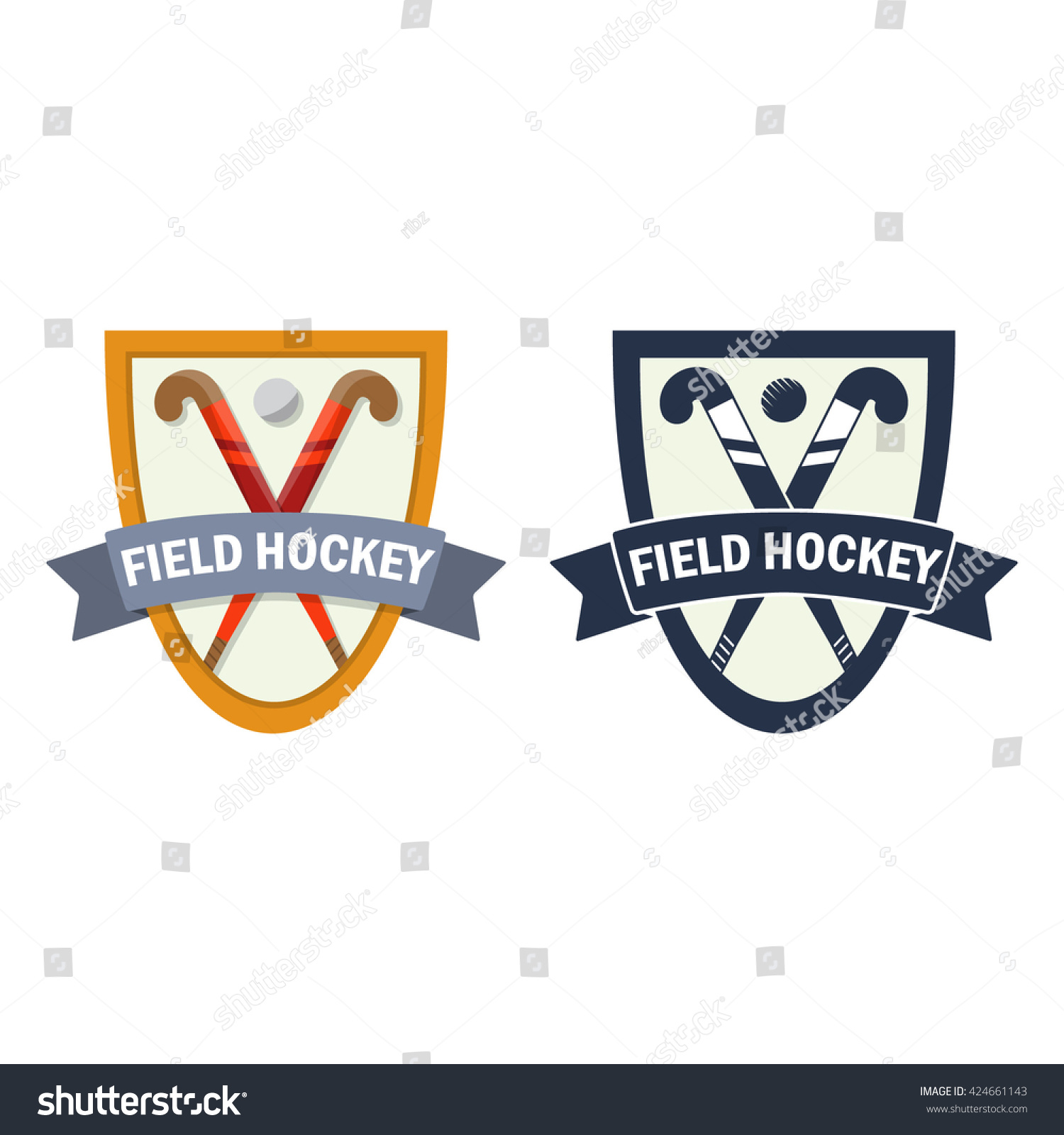 Vector Field Hockey Badge Color Monochrome Stock Vector 424661143