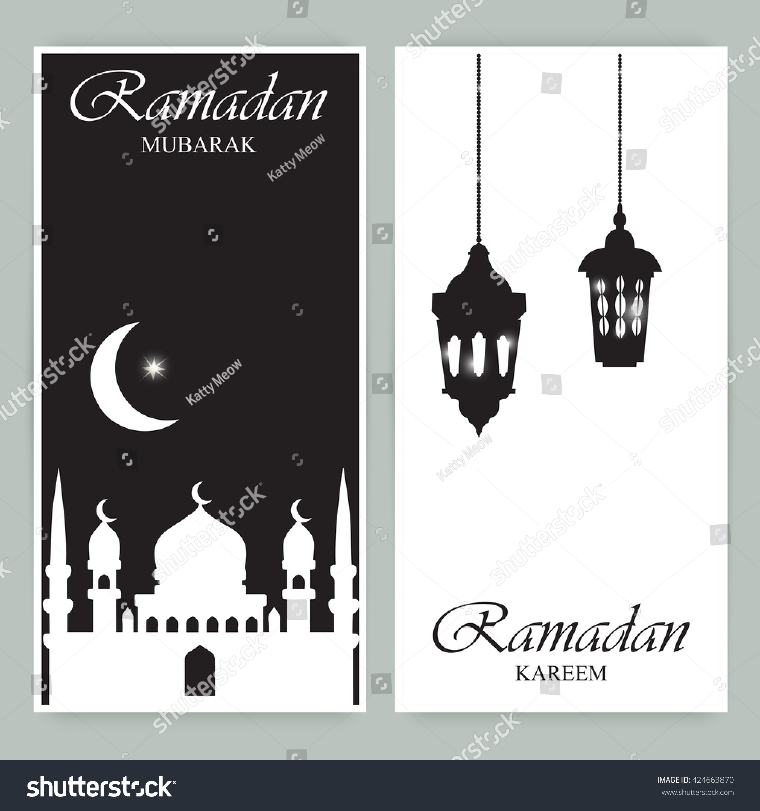 Greeting Cards Or Banners With Mosques Stars Moon And Arabic Lamp