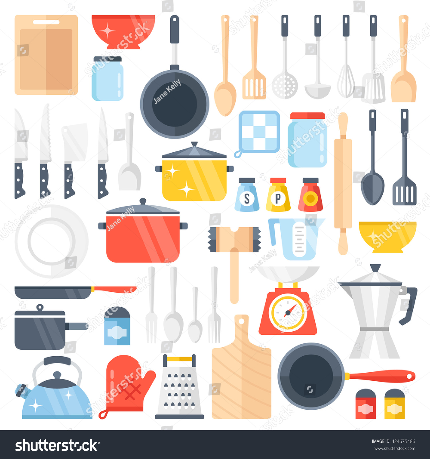 Vector Kitchen Tools Set Kitchenware Collection Lots Of Kitchen Tools Utensils Cutlery