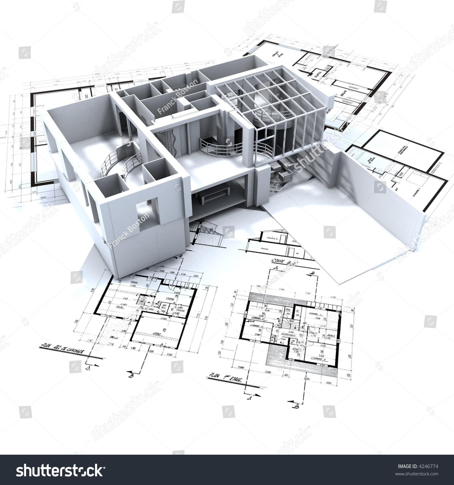 Architecture Blueprints loft mockup on top architecture blueprints stock photo 4246774