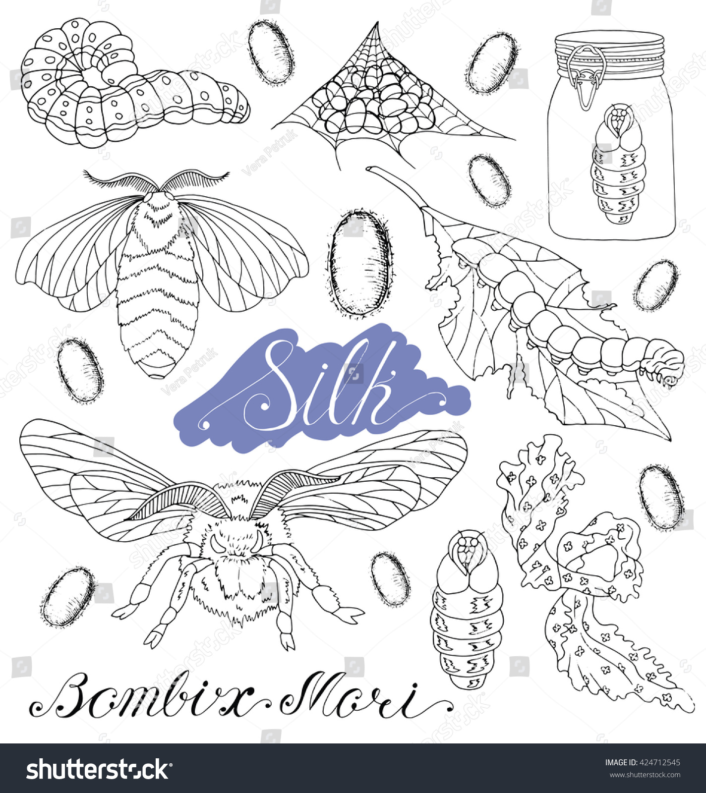 Hand Drawn Set Silk Moth Worms Stock Vector (Royalty Free) 424712545 ...