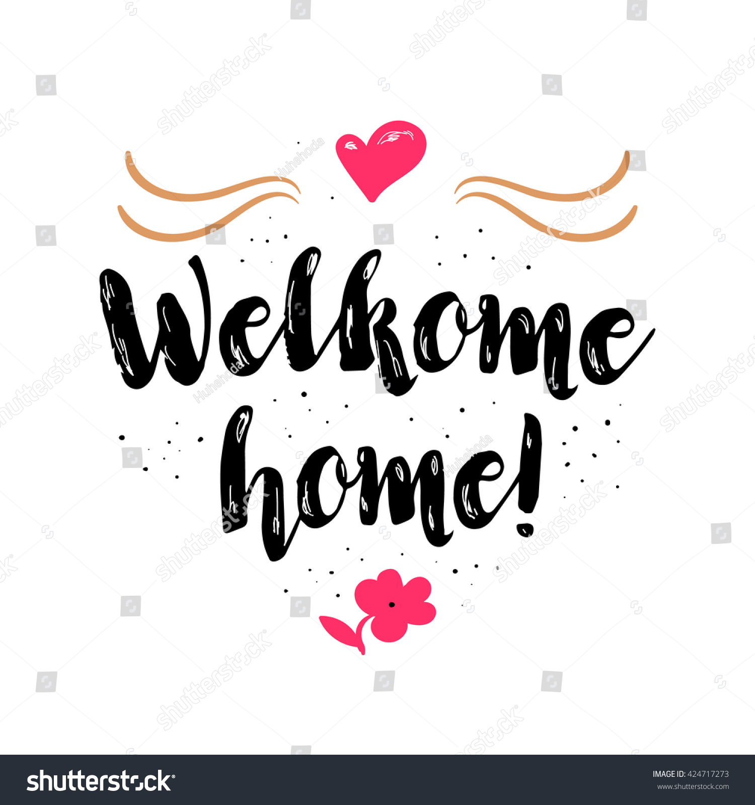 Welcome Home Artistic Greeting Card Poster Stock Vector HD (Royalty ...