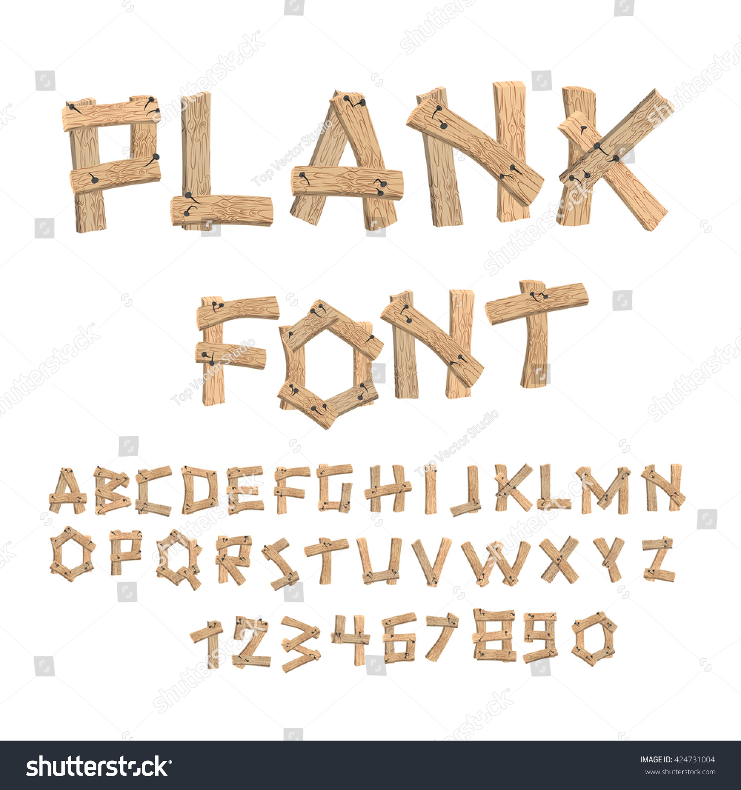 Plank font wooden table alphabet old boards with nails abc letters put together from vintage - Putting together stylish kitchen abcs ...
