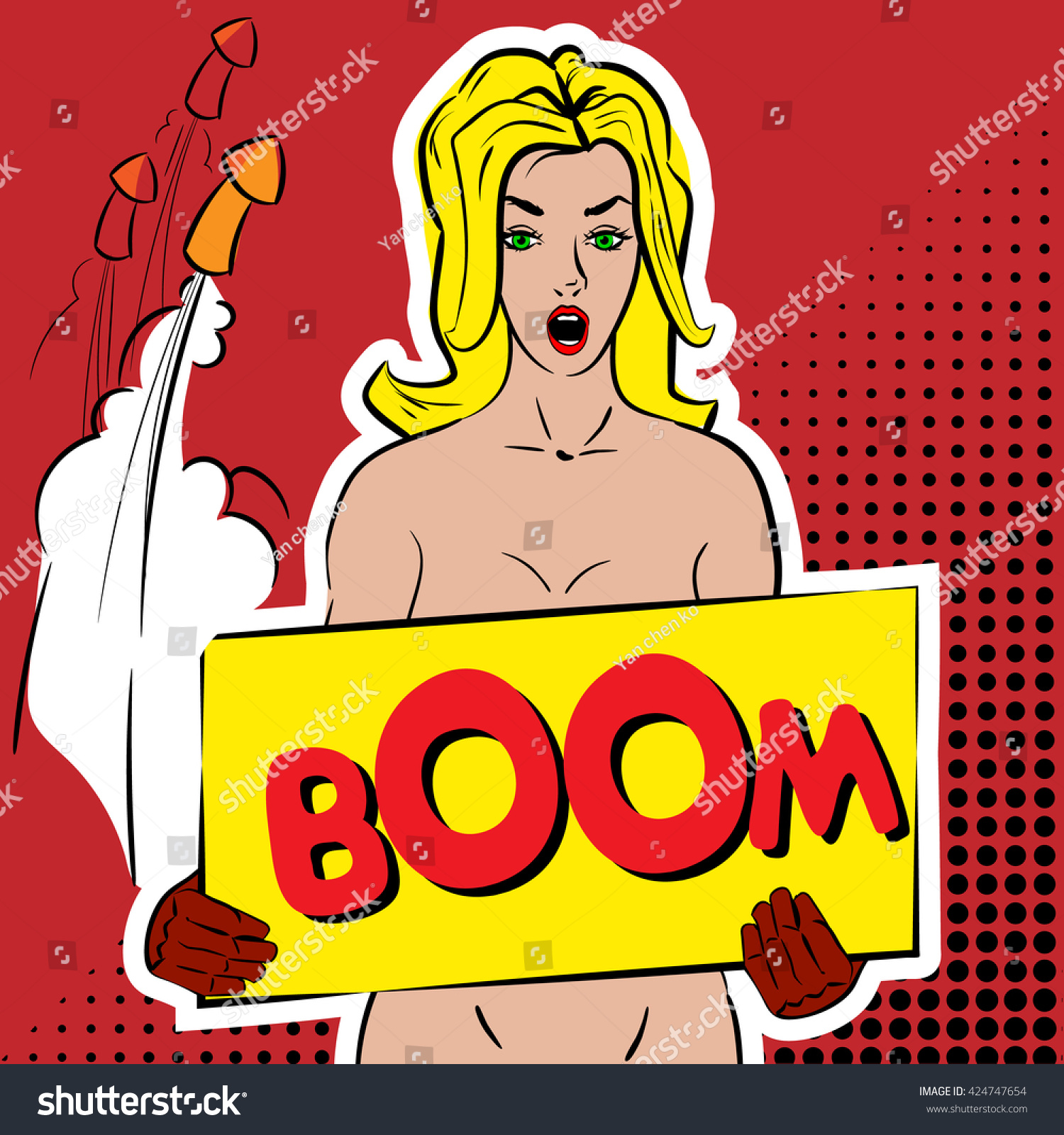sexy naked girl holding banner inscription stock vector (royalty