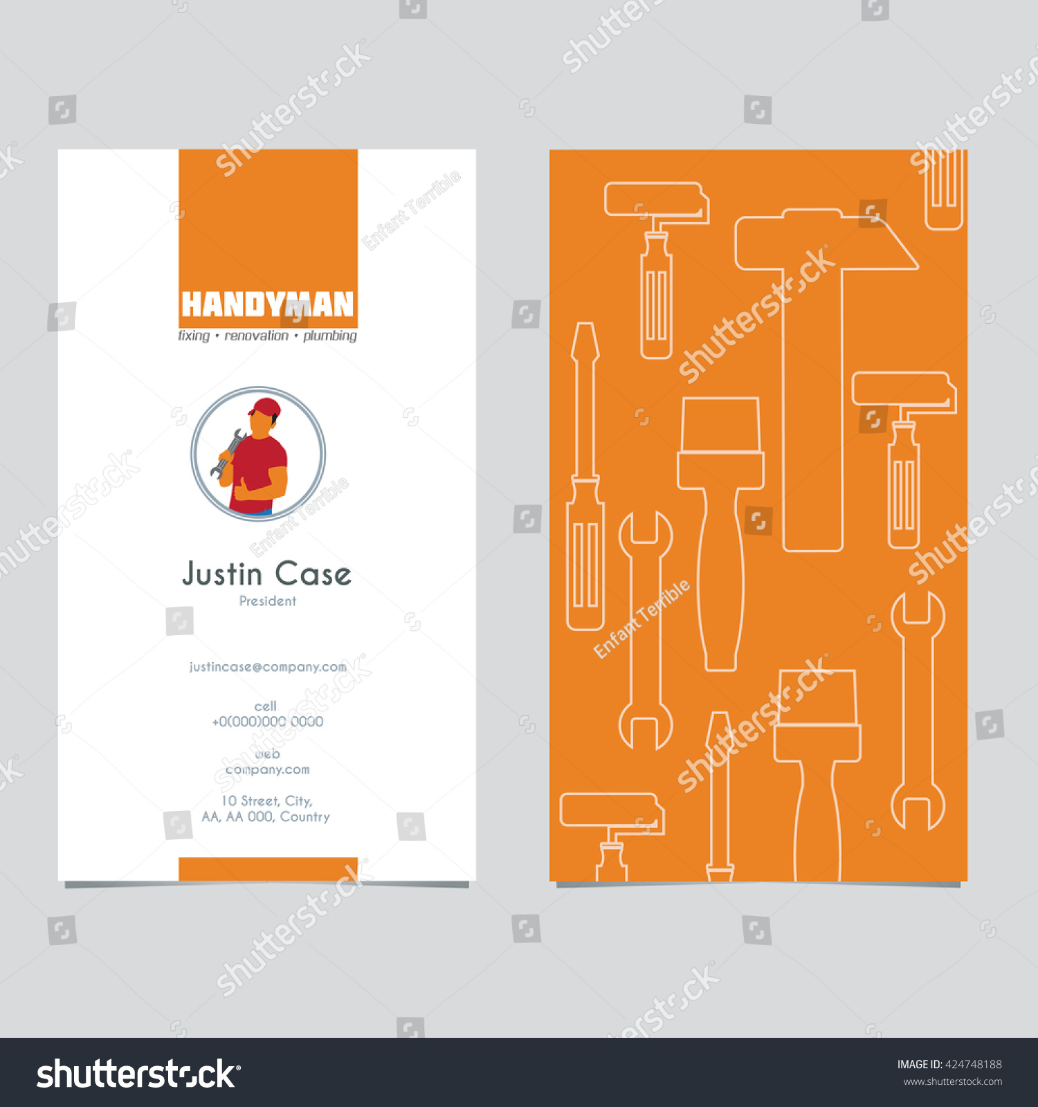 Handyman Business Sign Business Card Template Stock Vector
