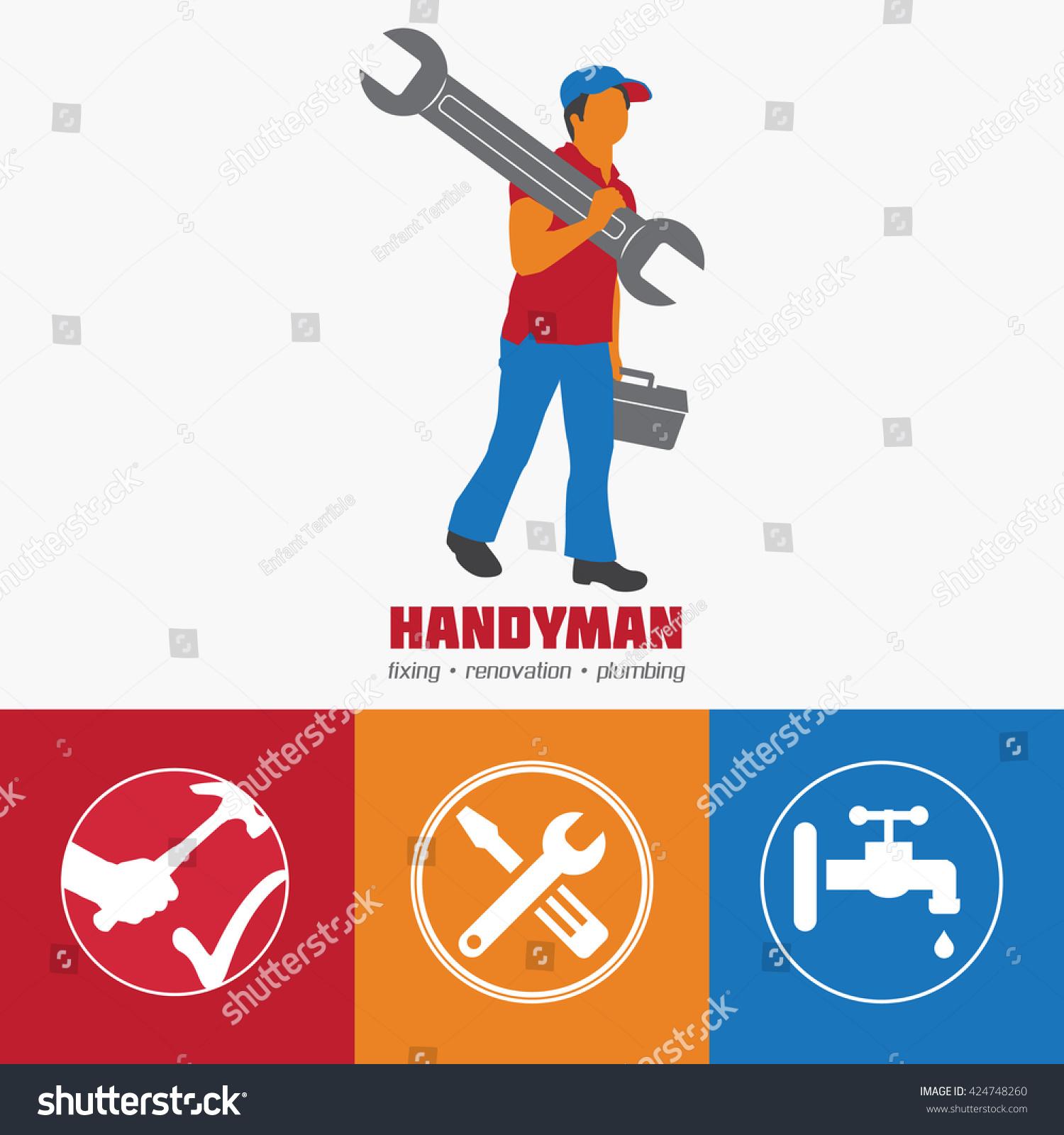 handyman business sign vector set amenities stock vector 424748260