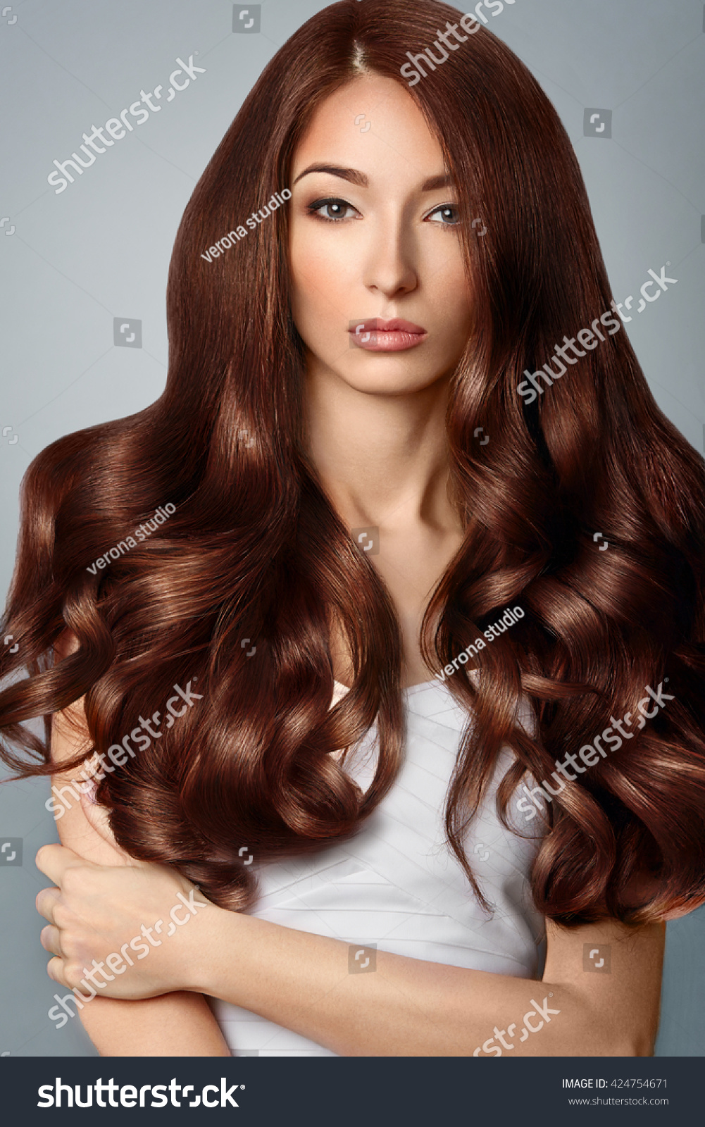 Healthy Brown Hair Beautiful Woman Gorgeous Stock Photo 424754671 Shutterstock