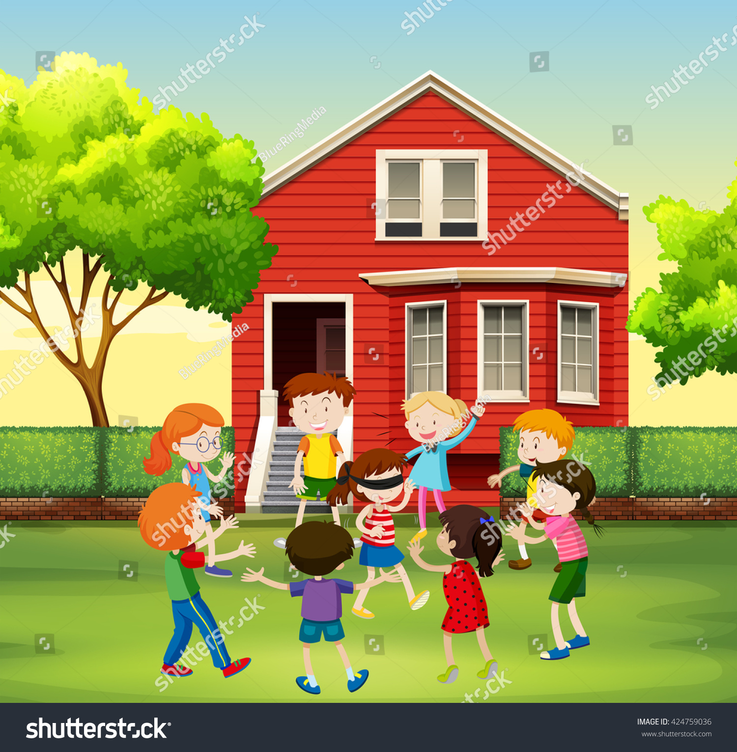 Children Playing Game Yard Illustration Stock Vector