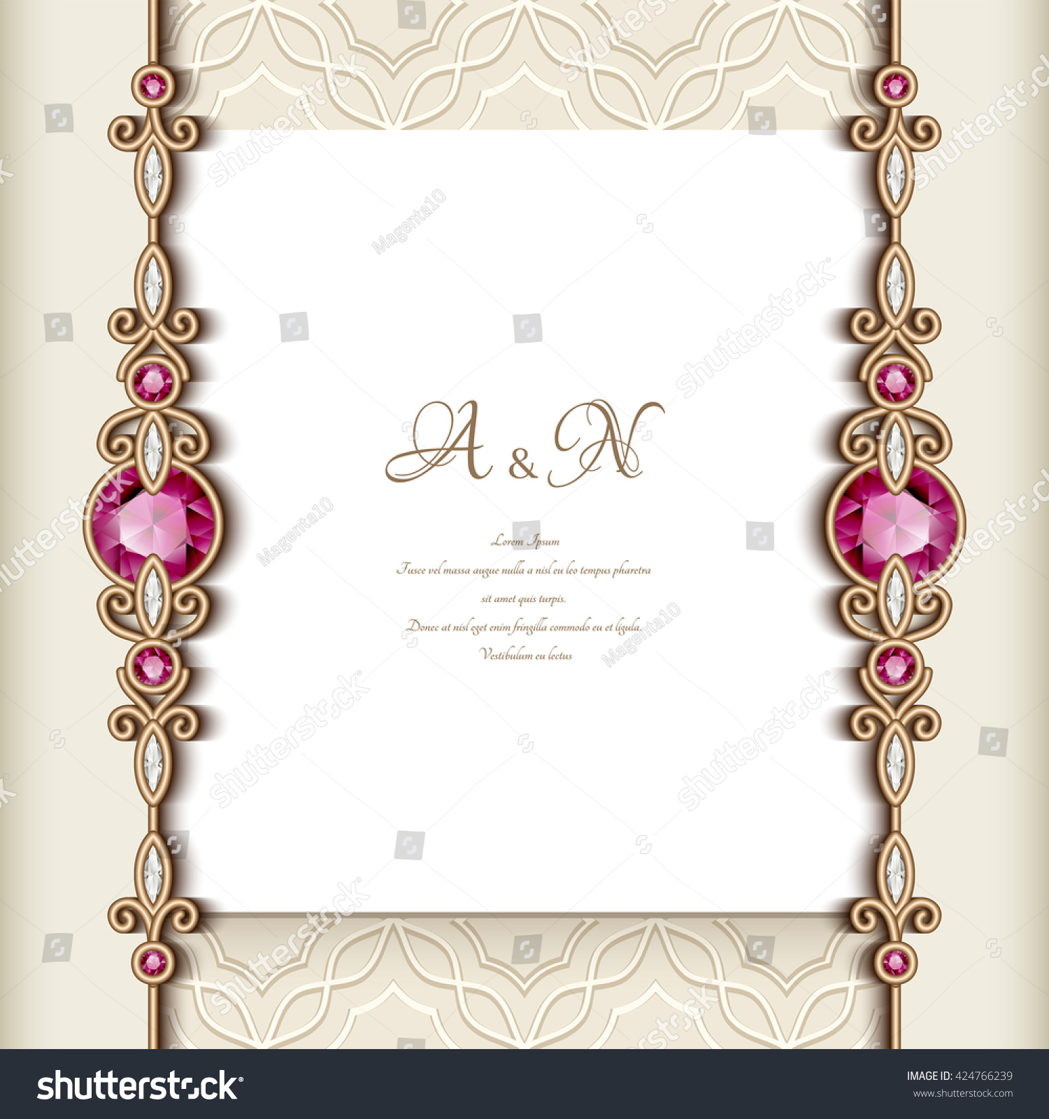 Elegant Greeting Card Diamond Jewelry Border Stock Vector (Royalty ...