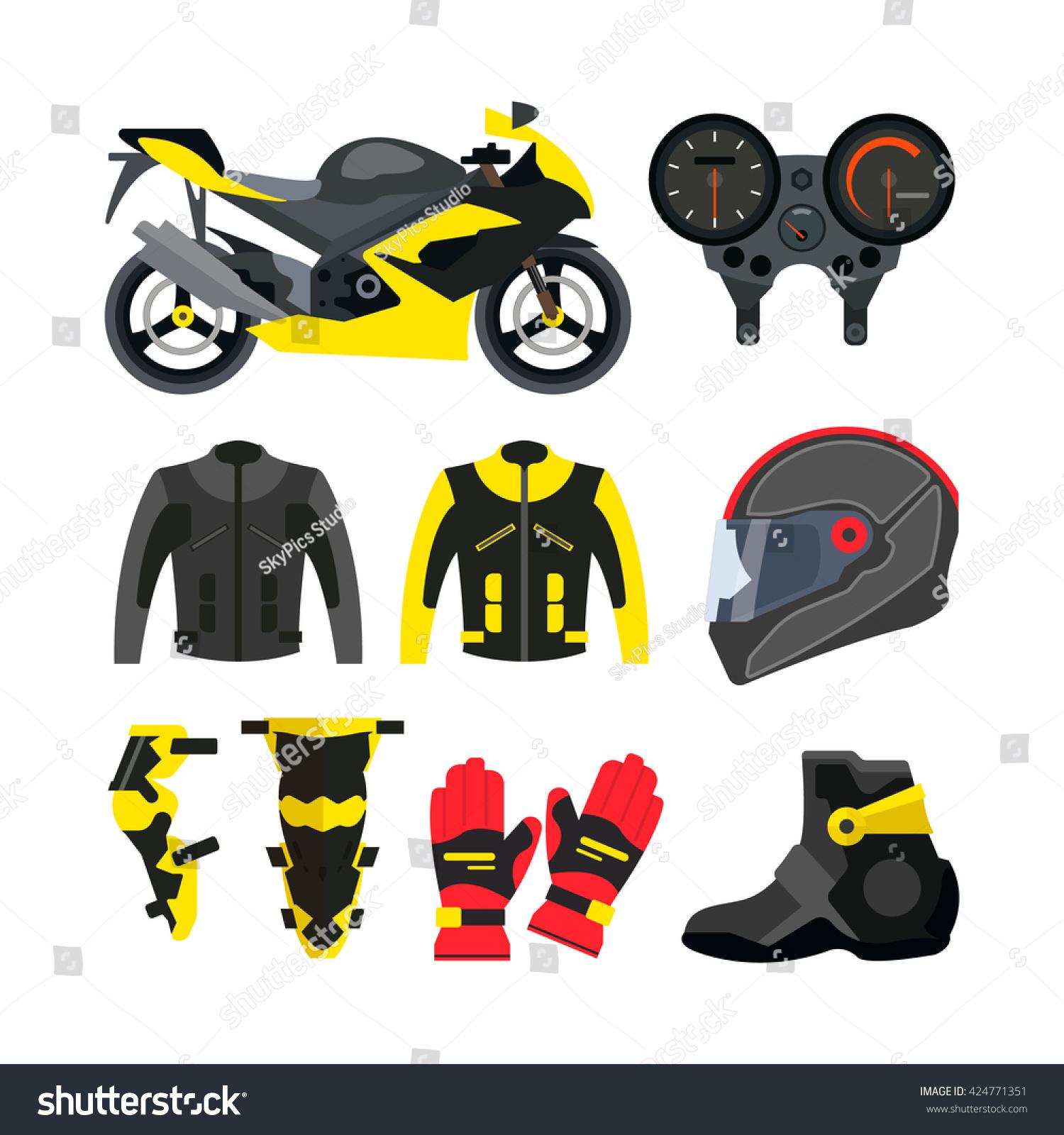 Vector Set Motorcycle Accessories Design Elements Stock Vector