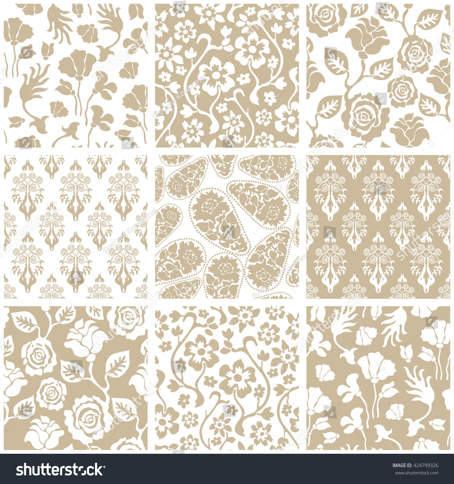 Set Of Victorian Damask Seamless Patterns With Roses And Wildflowers Chinese Indian French
