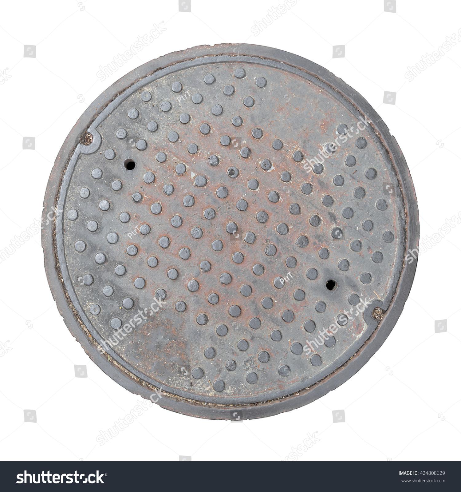 Rusty grunge manhole cover ROUGH edge rim isolated