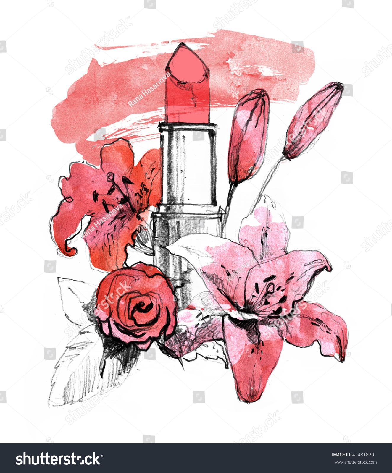 Red Lipstick Lily Rose Flowers Smudge Stock Illustration 424818202