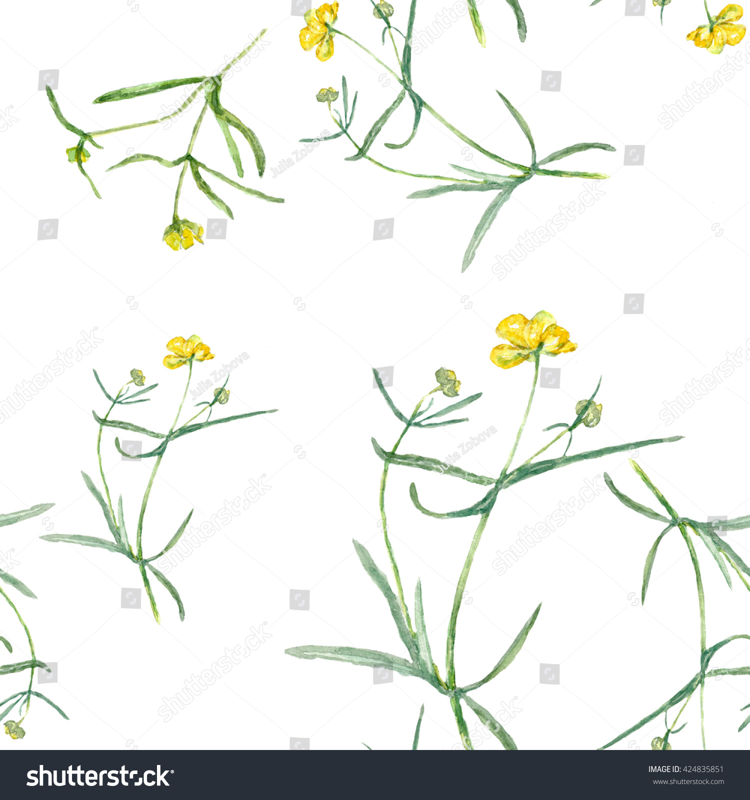 Pattern Yellow Flowers Drawing Watercolor Small Stock Illustration